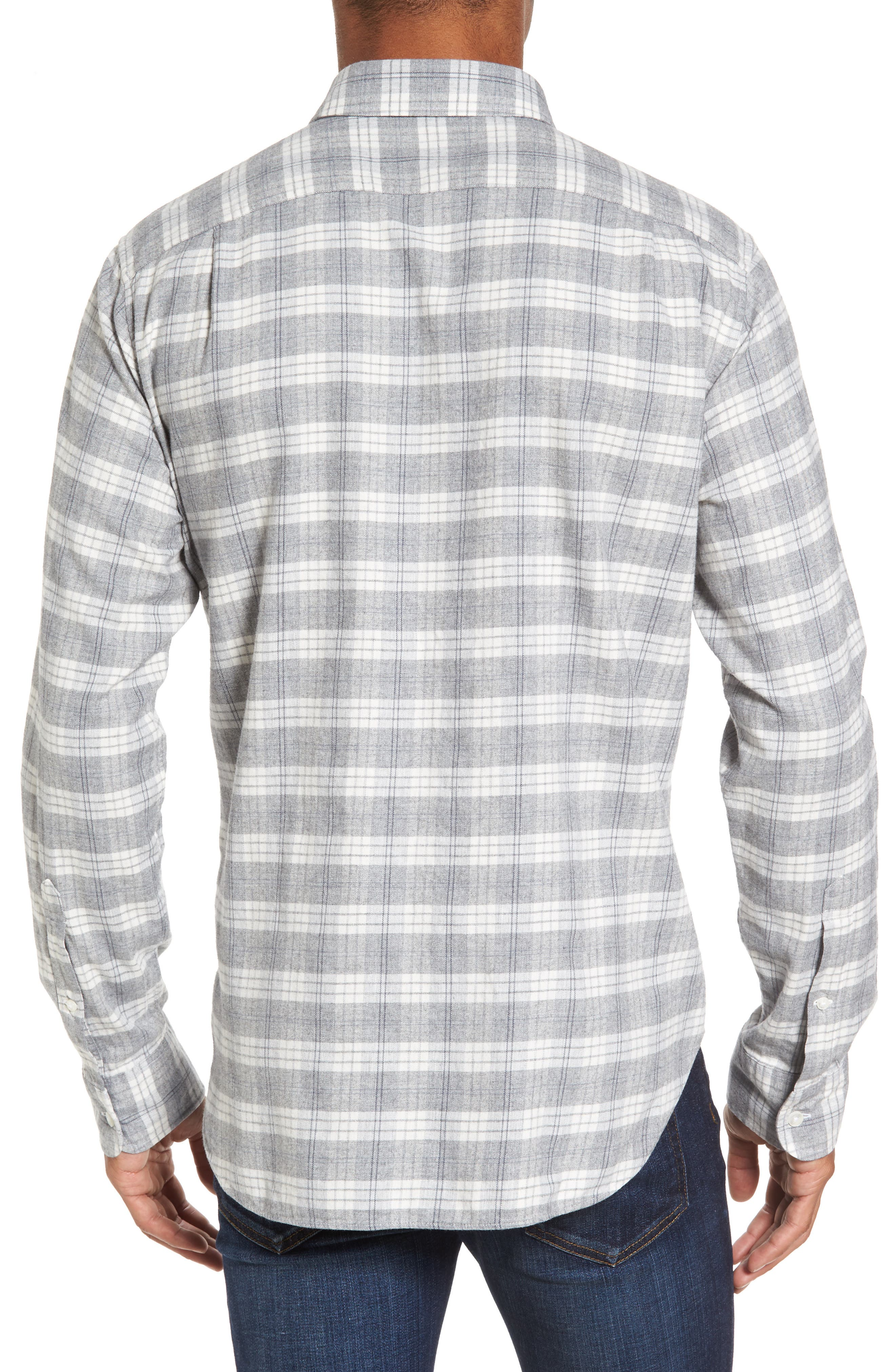 Slim Fit Plaid Twill Sport Shirt,                             Alternate thumbnail 2, color,                             020