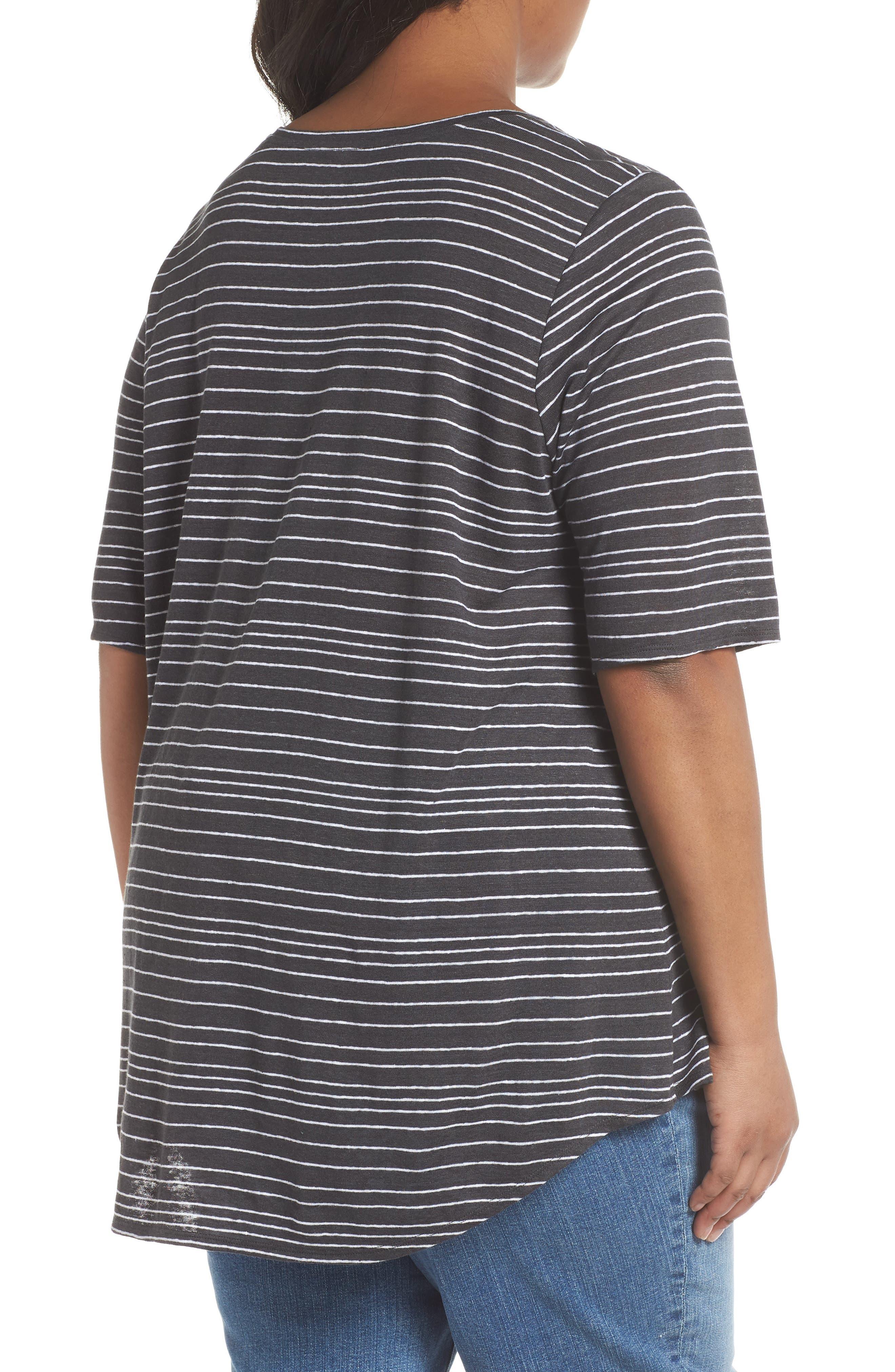Stripe Organic Linen Top,                             Alternate thumbnail 3, color,