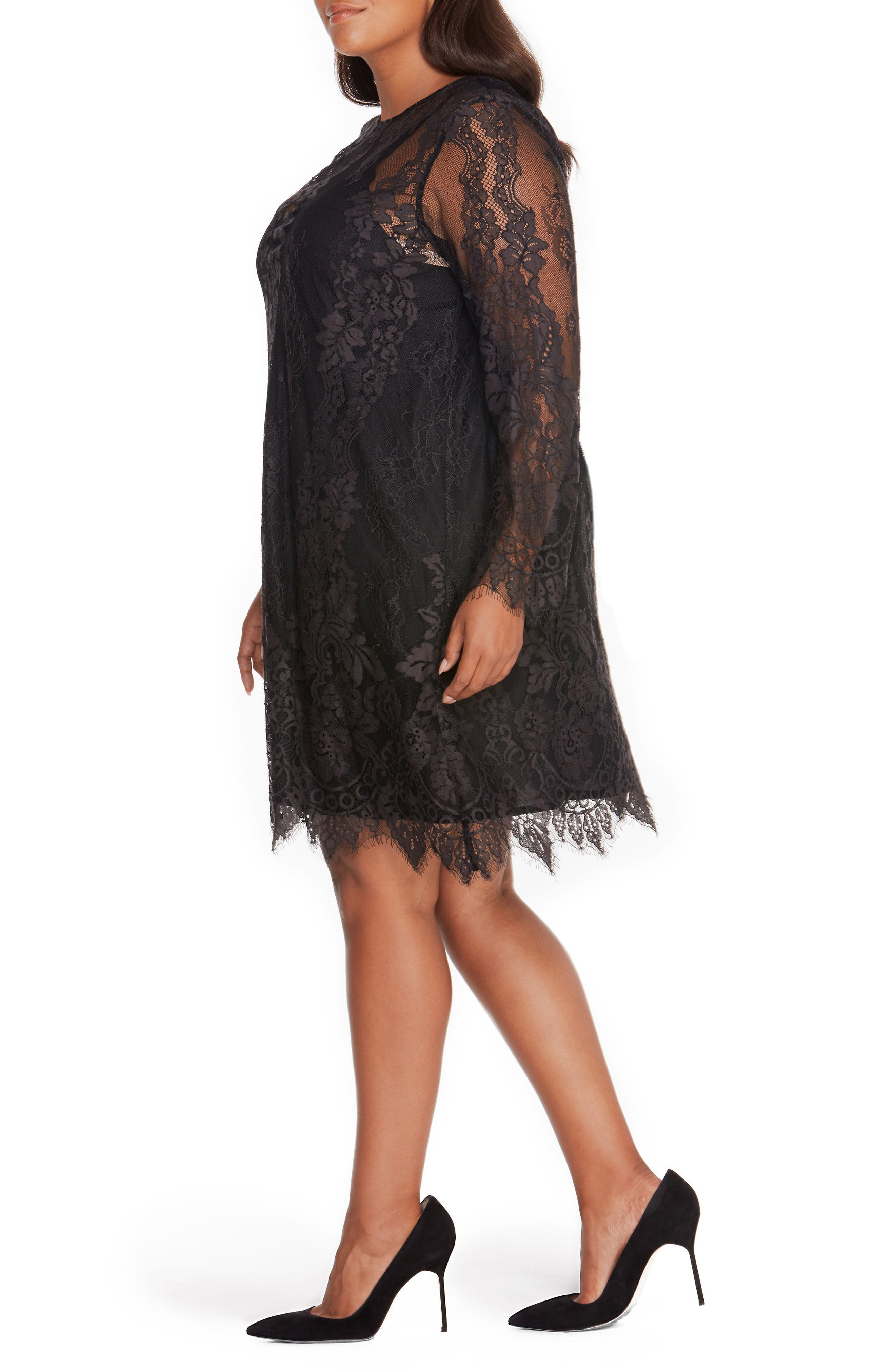 Lace Overlay Dress,                             Alternate thumbnail 3, color,                             001