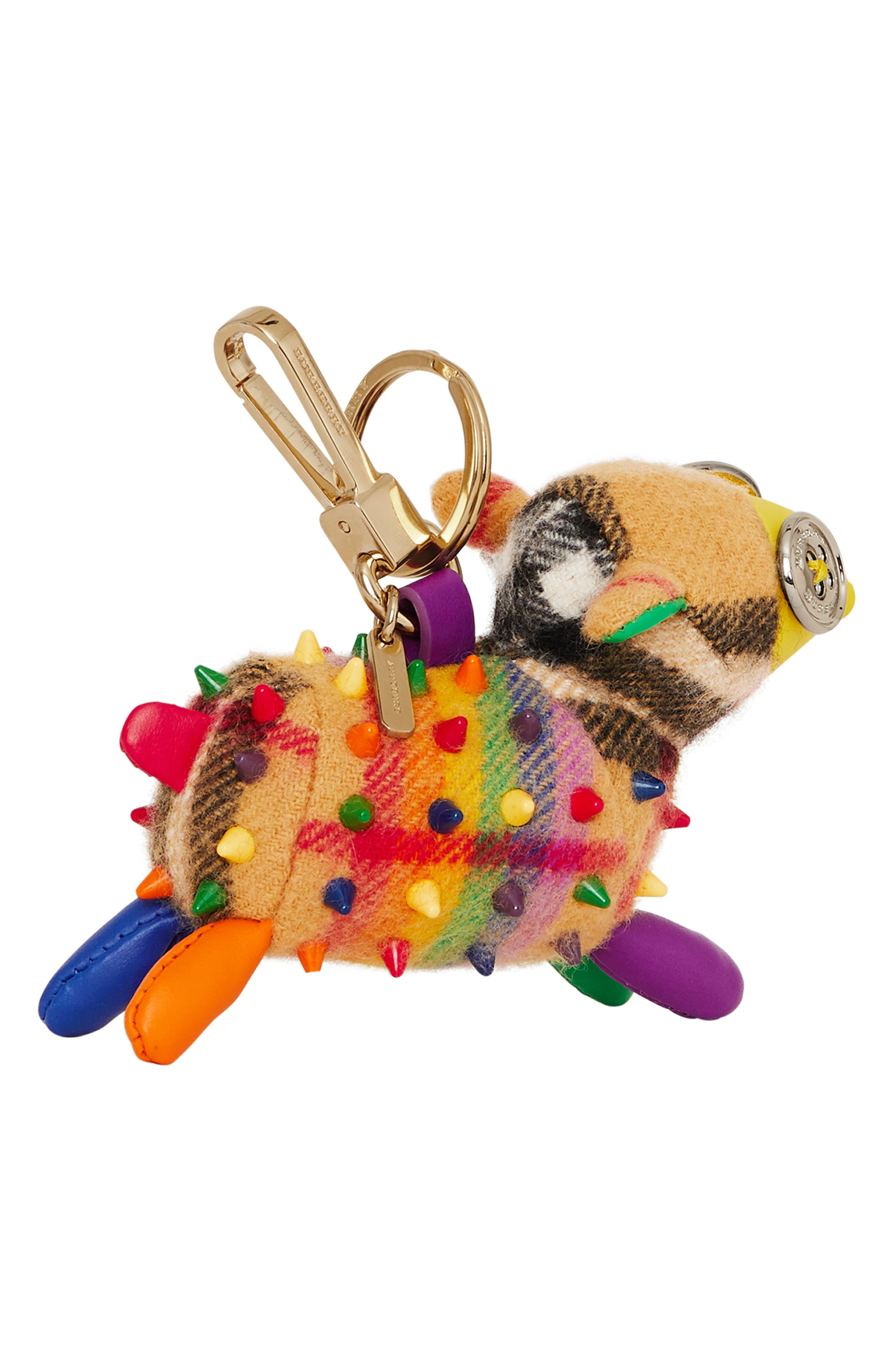 BURBERRY,                             Wendy the Sheep Rainbow Check Cashmere Bag Charm,                             Alternate thumbnail 4, color,                             250