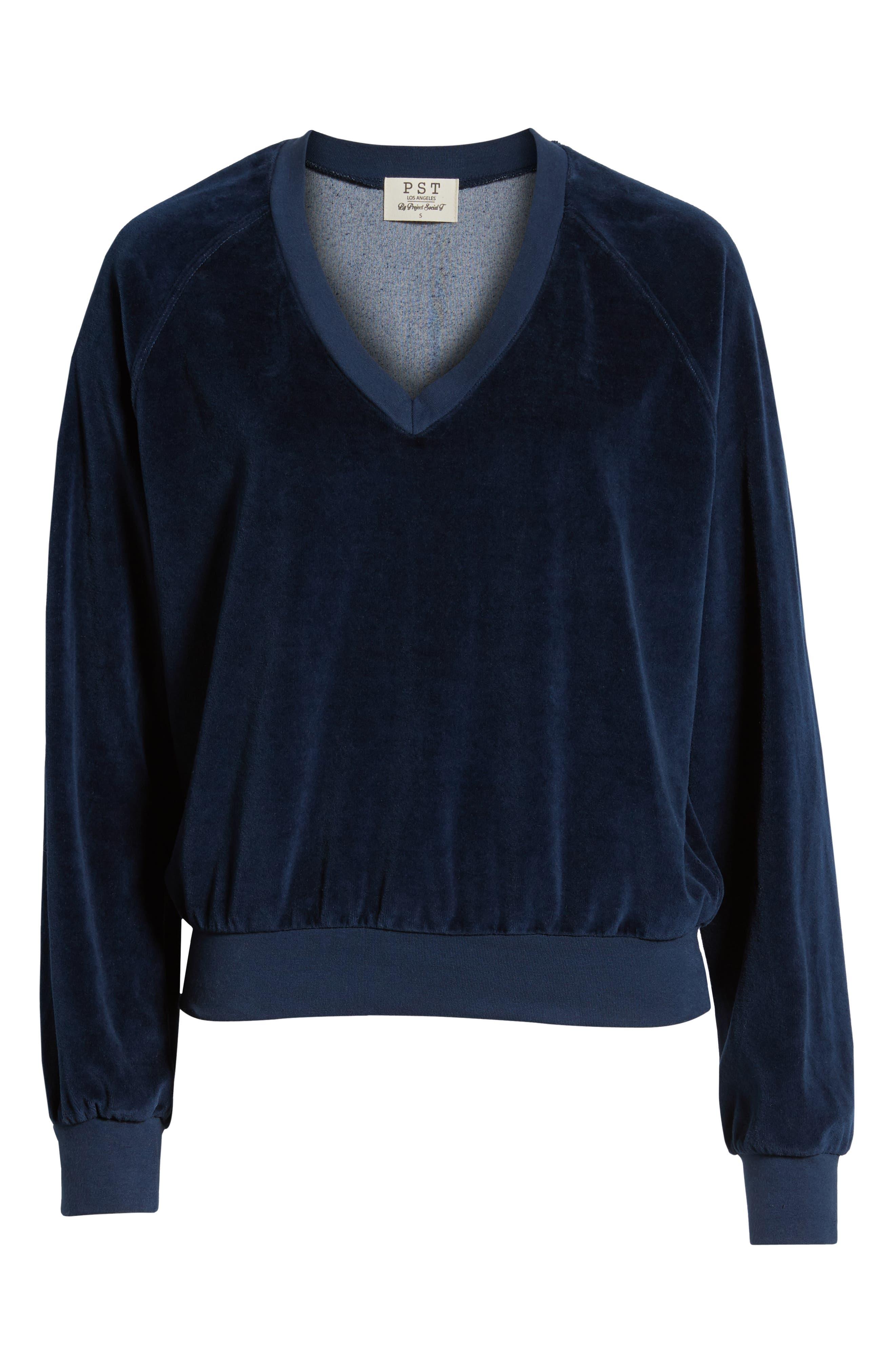 Velour Sweatshirt,                             Alternate thumbnail 6, color,                             NAVY