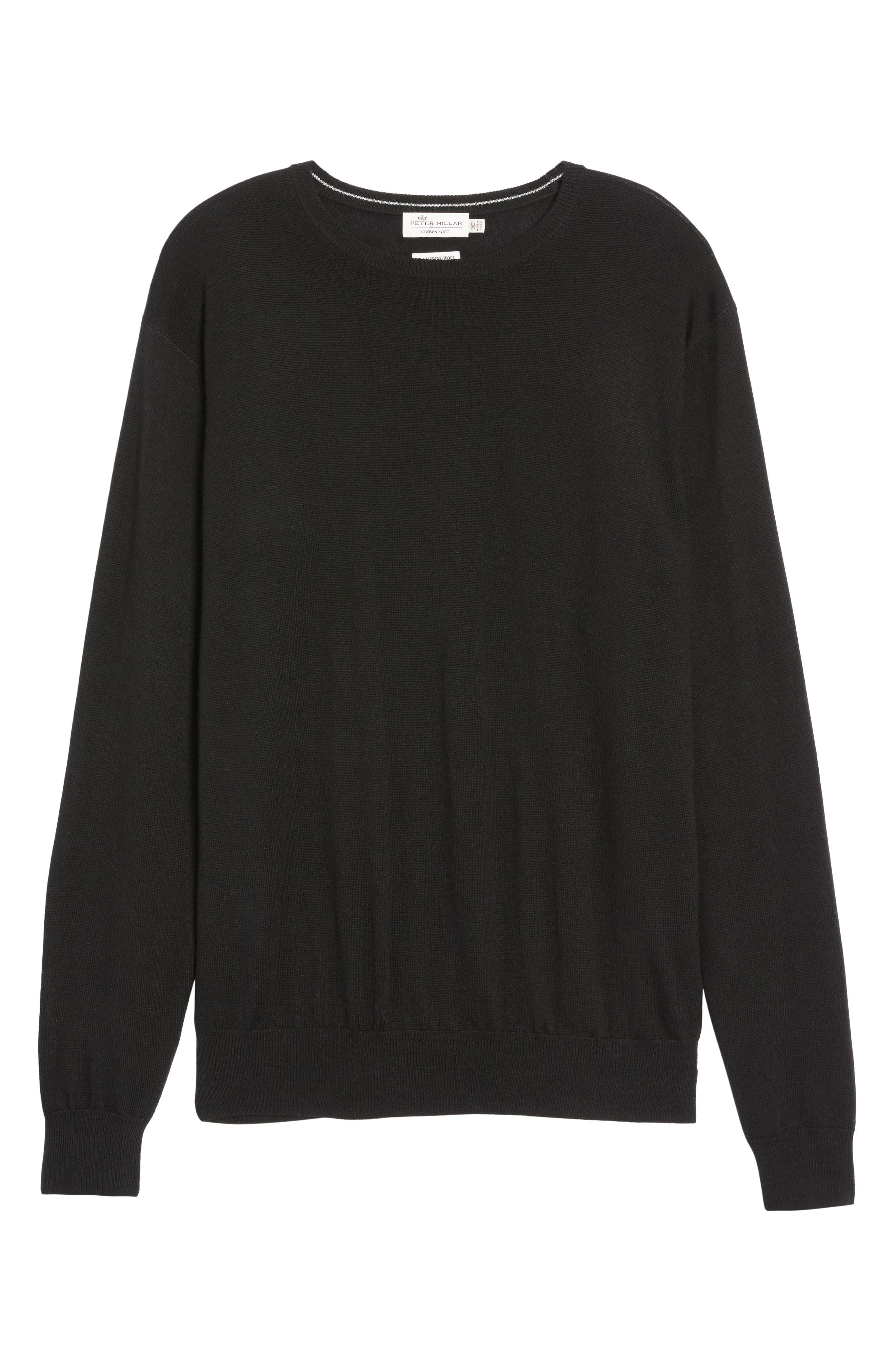 Crown Soft Merino Wool & Silk Crewneck Sweater,                             Alternate thumbnail 6, color,                             001