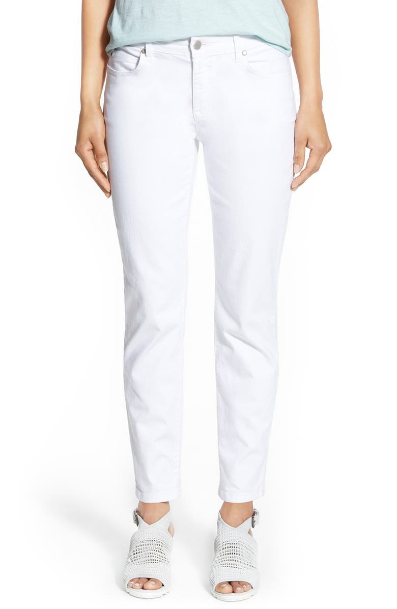 479c62d4a06a8 Eileen Fisher Stretch Organic Cotton Skinny Jeans (White) (Plus Size ...