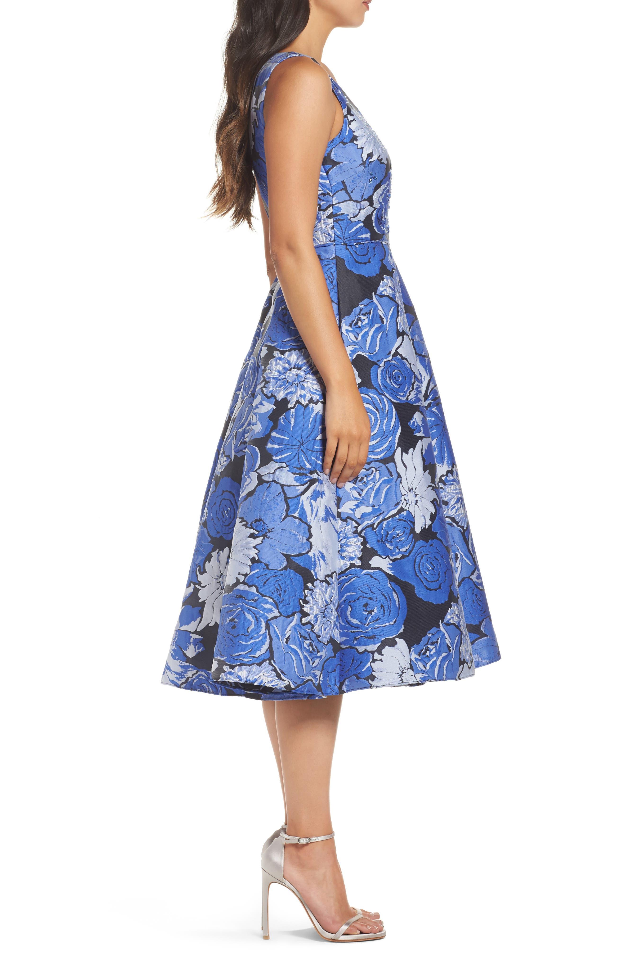 Jacquard Fit & Flare Dress,                             Alternate thumbnail 3, color,