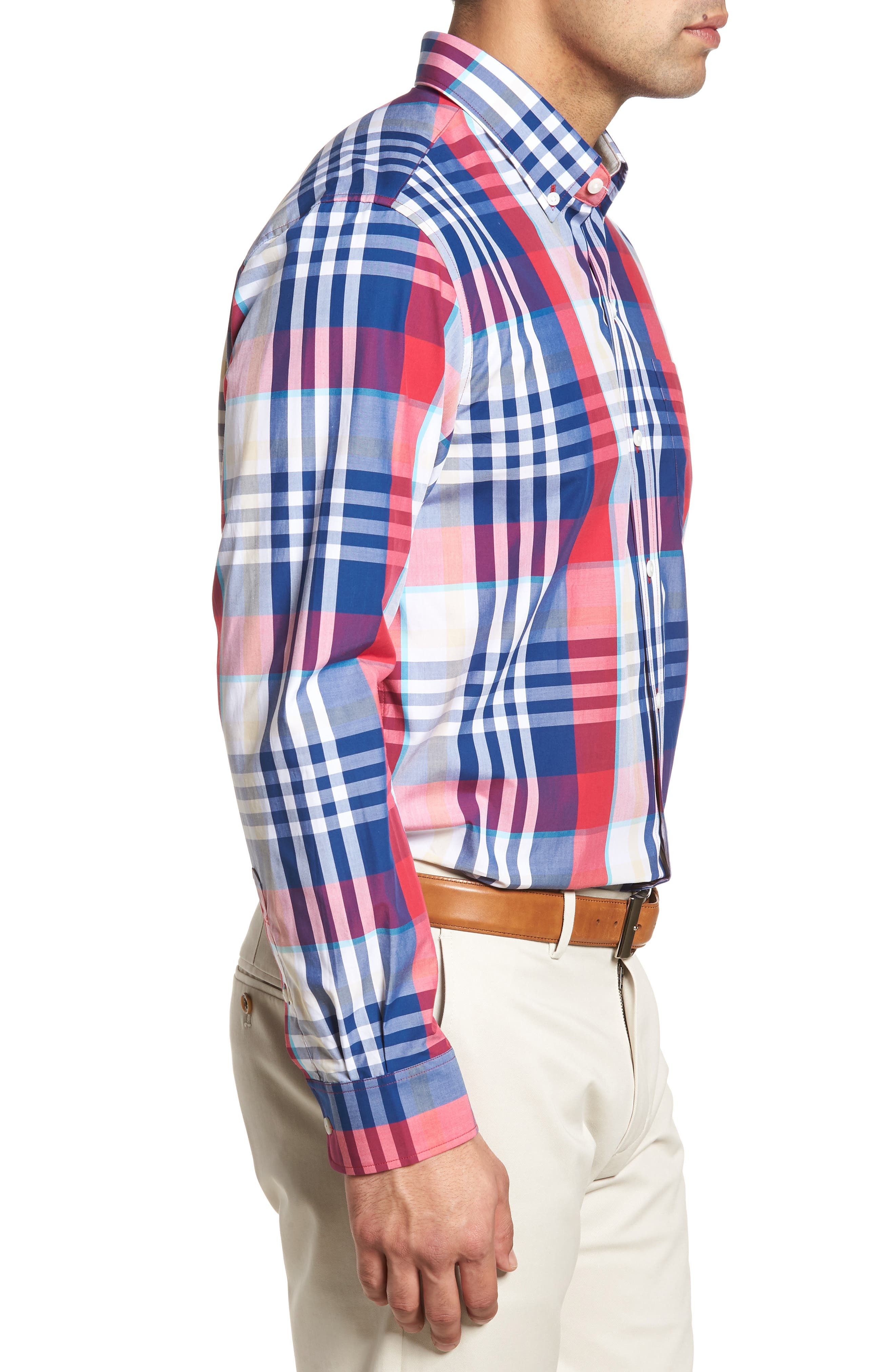 Cooper Classic Fit Non-Iron Plaid Sport Shirt,                             Alternate thumbnail 6, color,