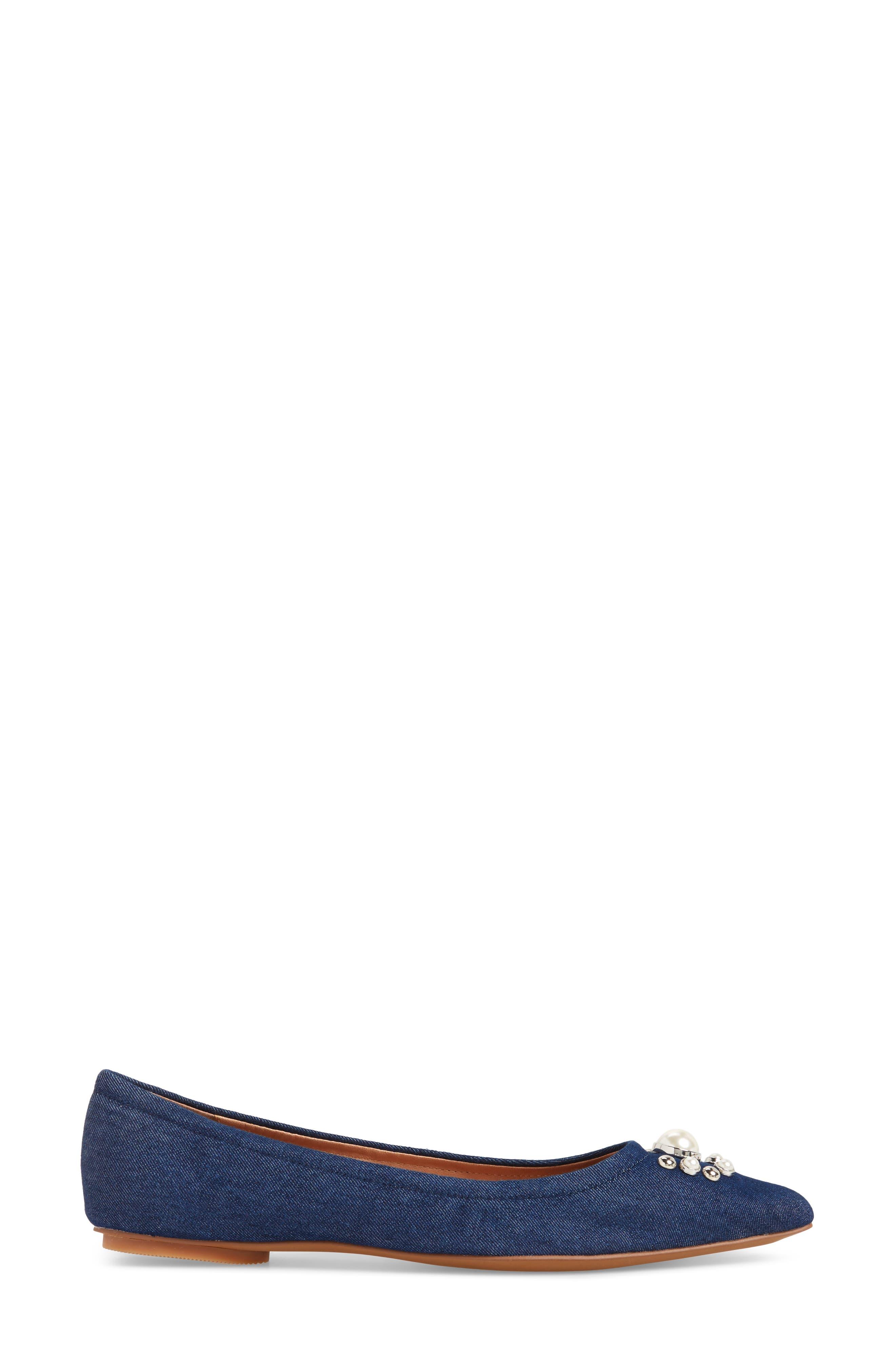 Nadia Embellished Pointy Toe Flat,                             Alternate thumbnail 3, color,                             NAVY DENIM FABRIC