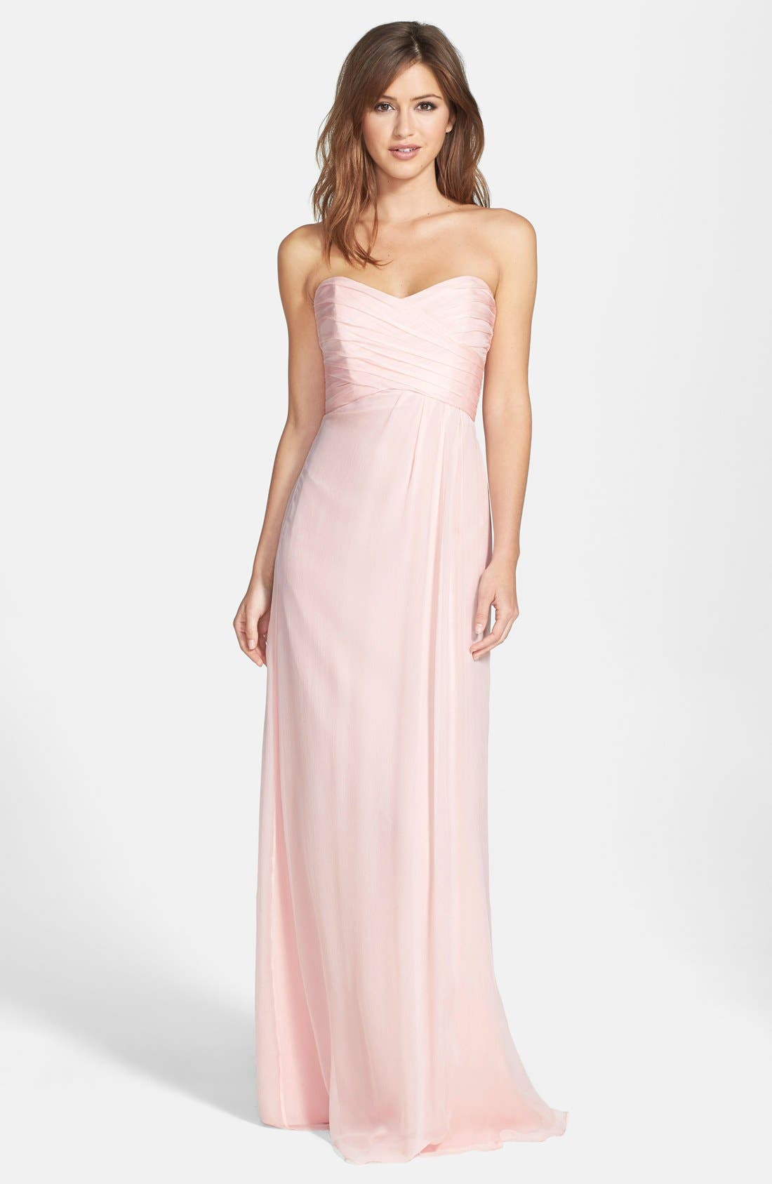 Strapless Crinkle Chiffon Gown,                             Main thumbnail 4, color,
