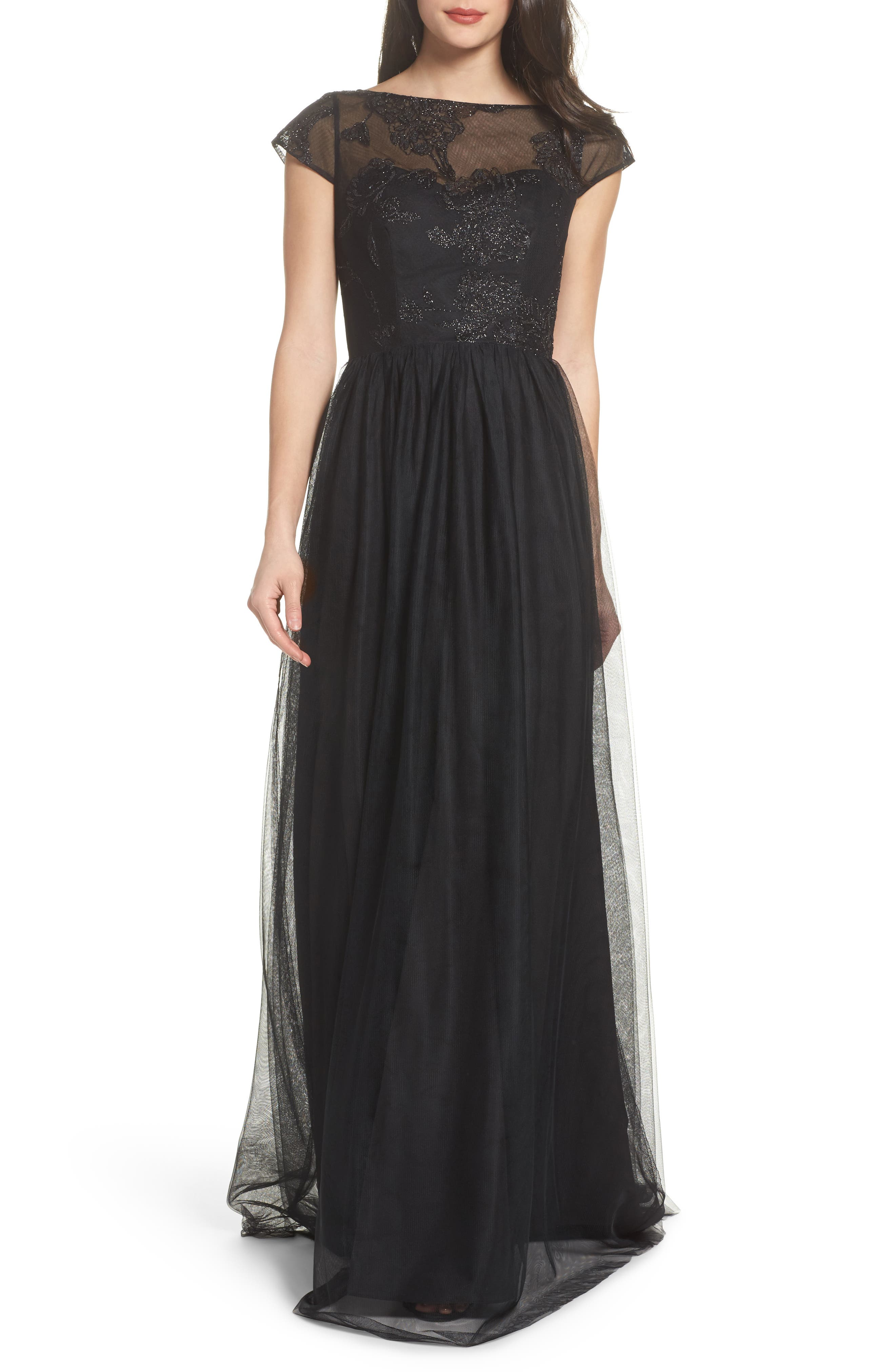 Embroidered Bodice Net Gown,                             Main thumbnail 1, color,                             002