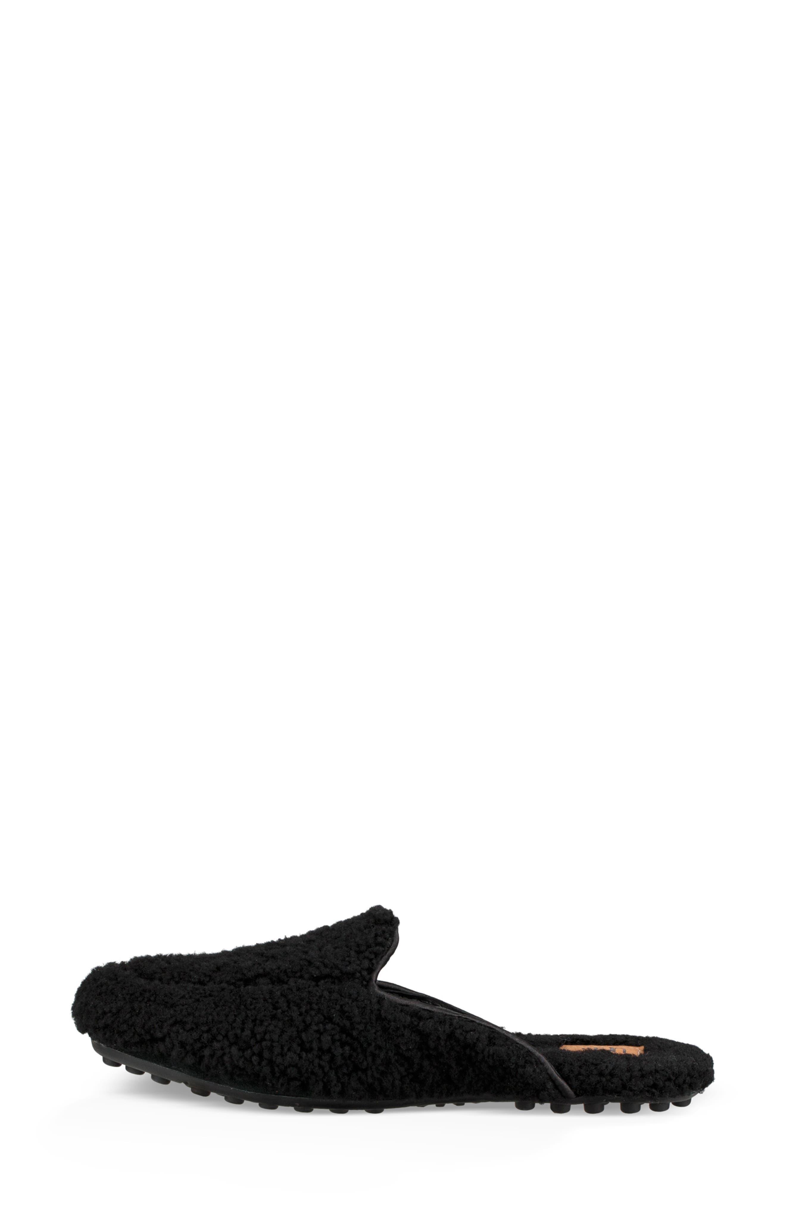 Lane Fluff Genuine Shearling Loafer Slipper,                             Alternate thumbnail 6, color,                             BLACK