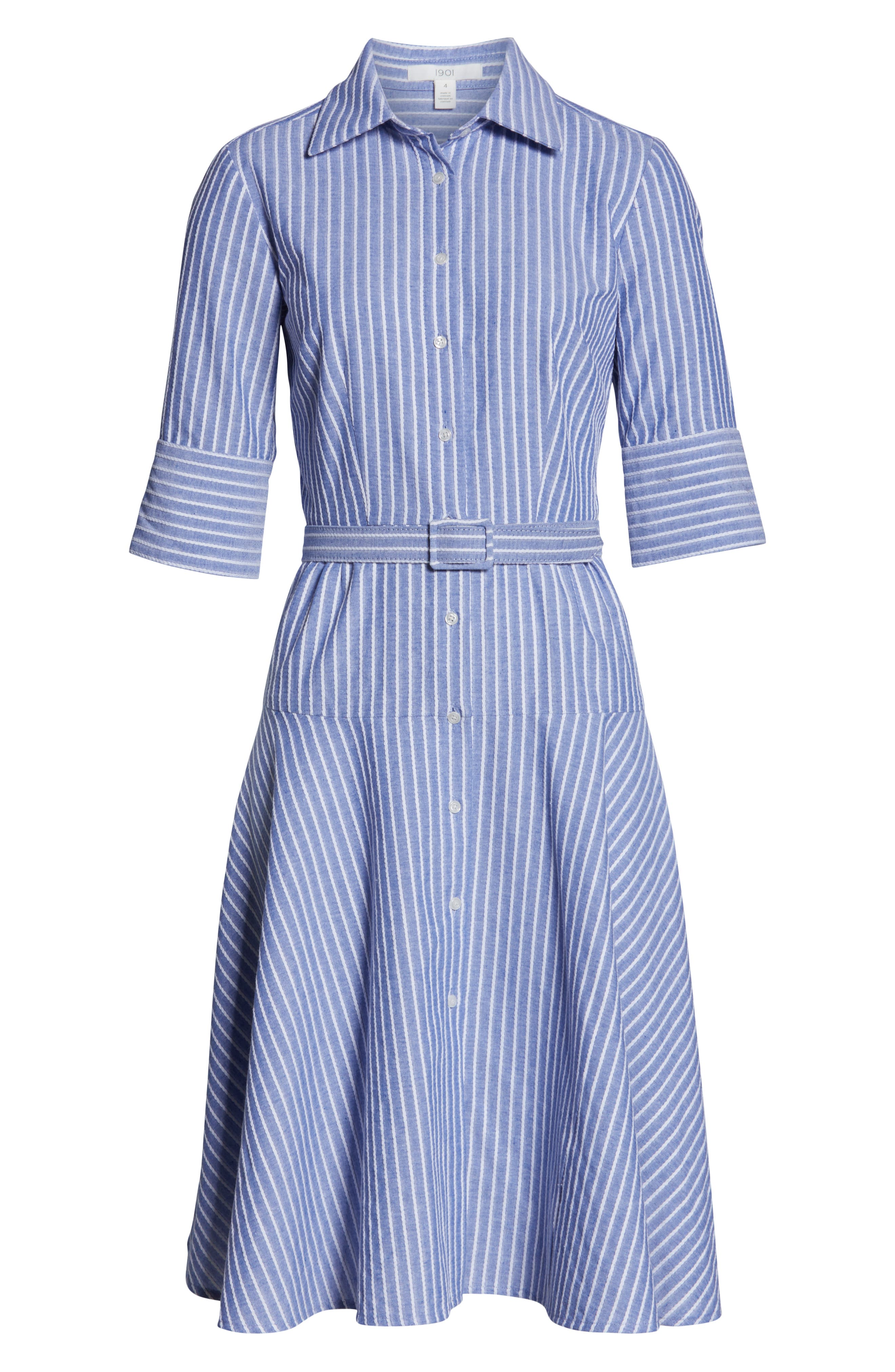 1901,                             Stripe Belted Shirtdress,                             Alternate thumbnail 7, color,                             DENIM