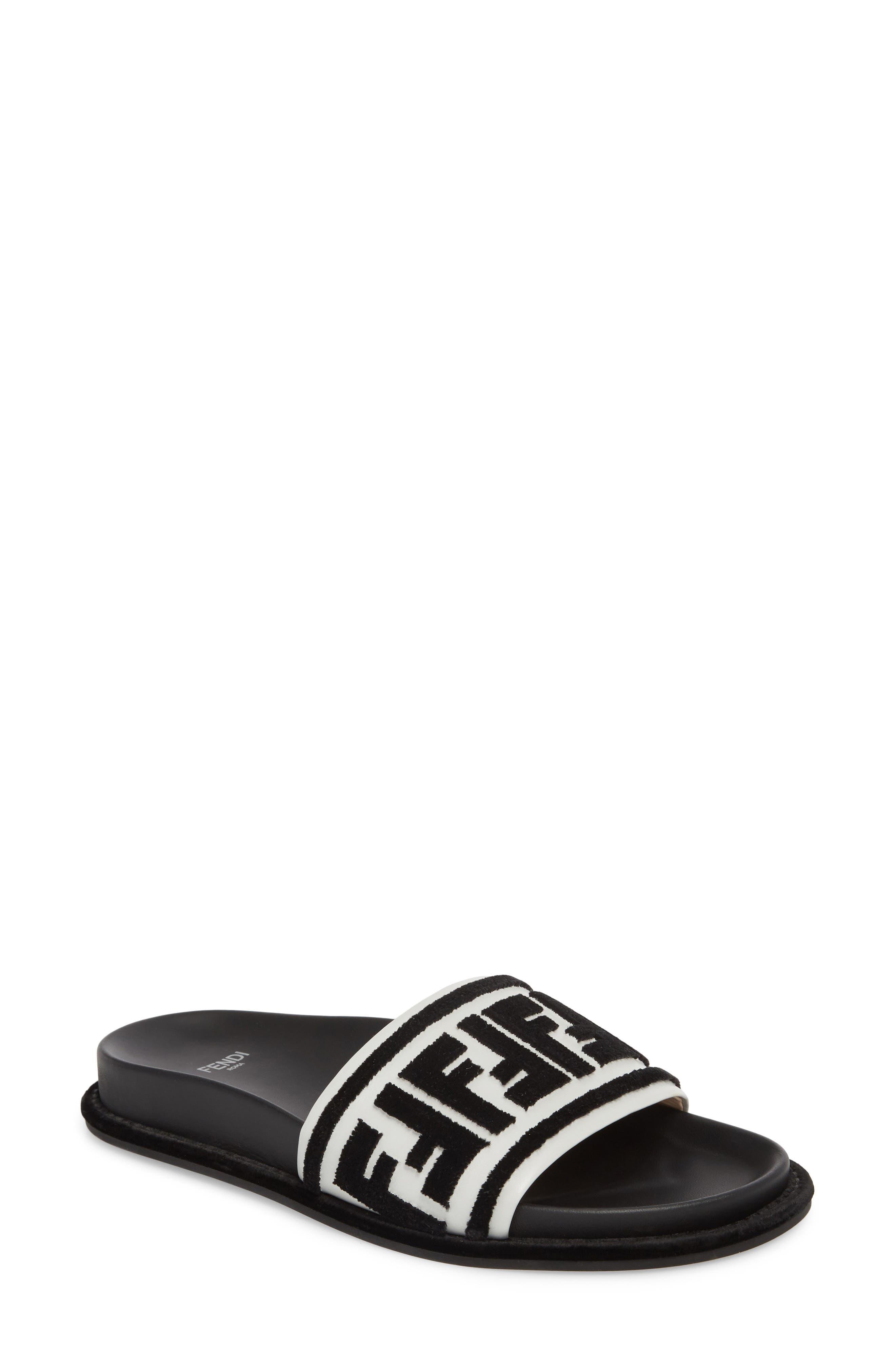 Fun Fendi Logo Slide Sandal,                             Main thumbnail 1, color,                             BLACK/ WHITE