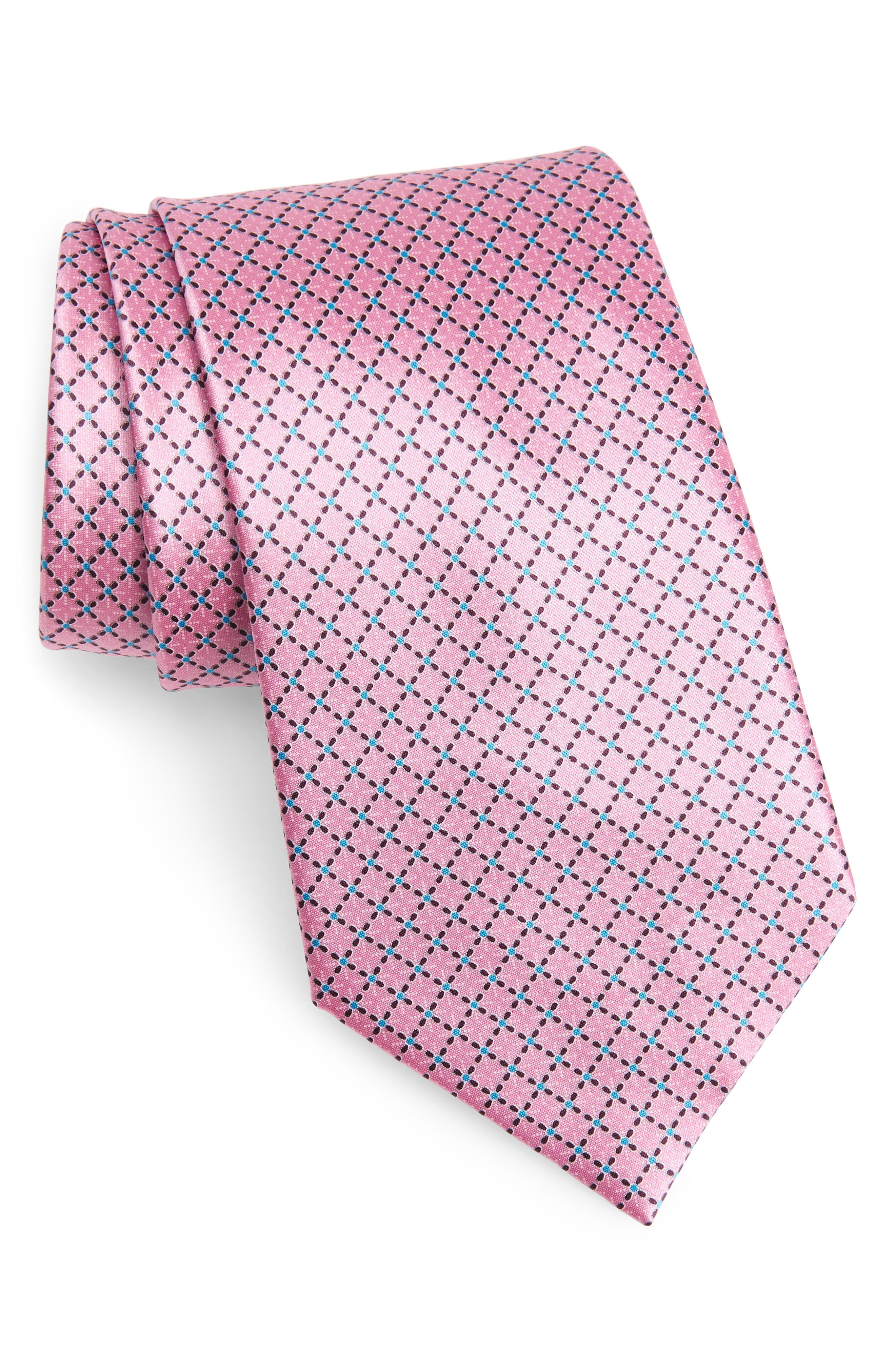 Geometric Silk Tie,                             Main thumbnail 1, color,                             PINK FAN