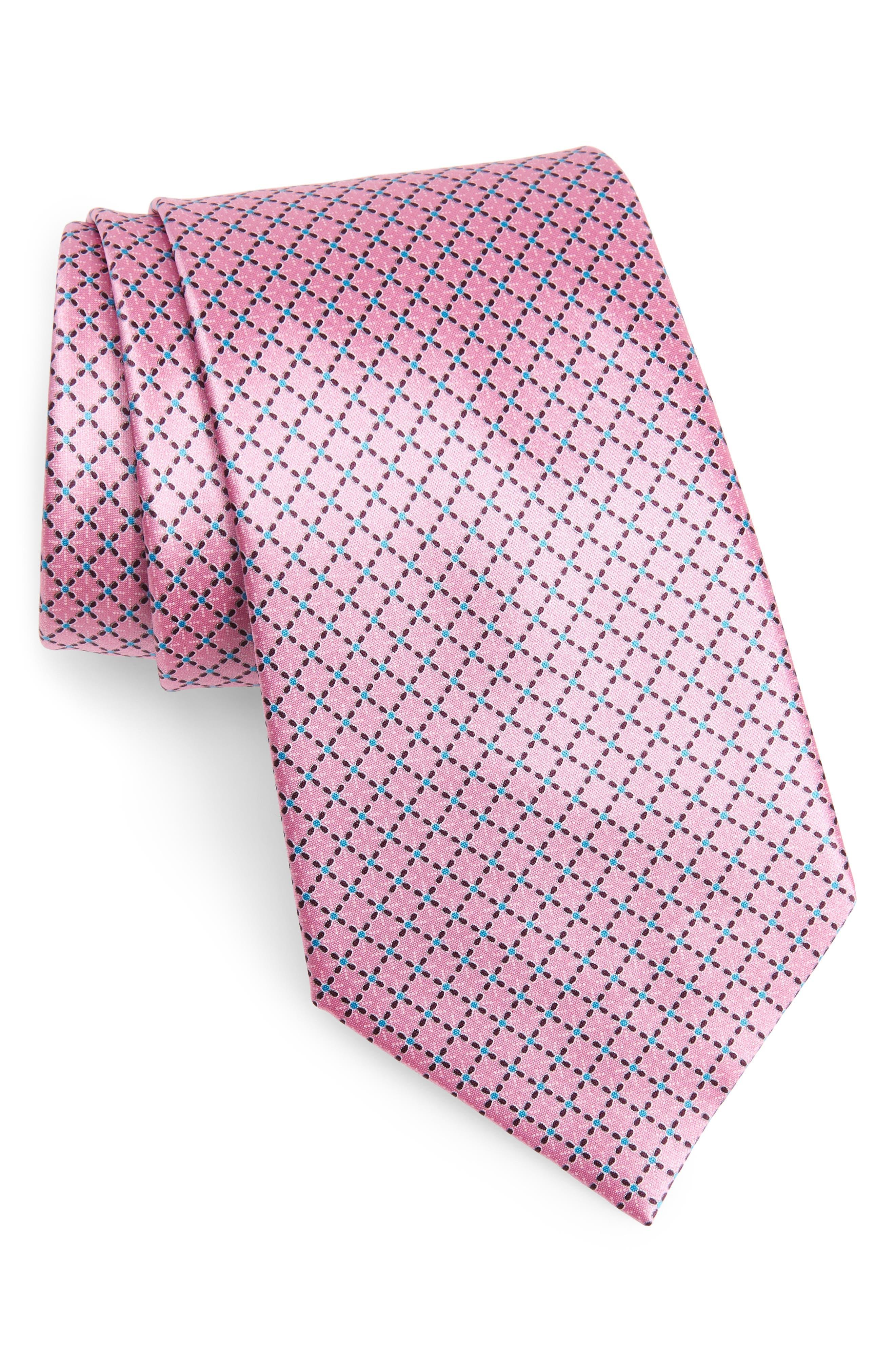 Geometric Silk Tie,                         Main,                         color, PINK FAN