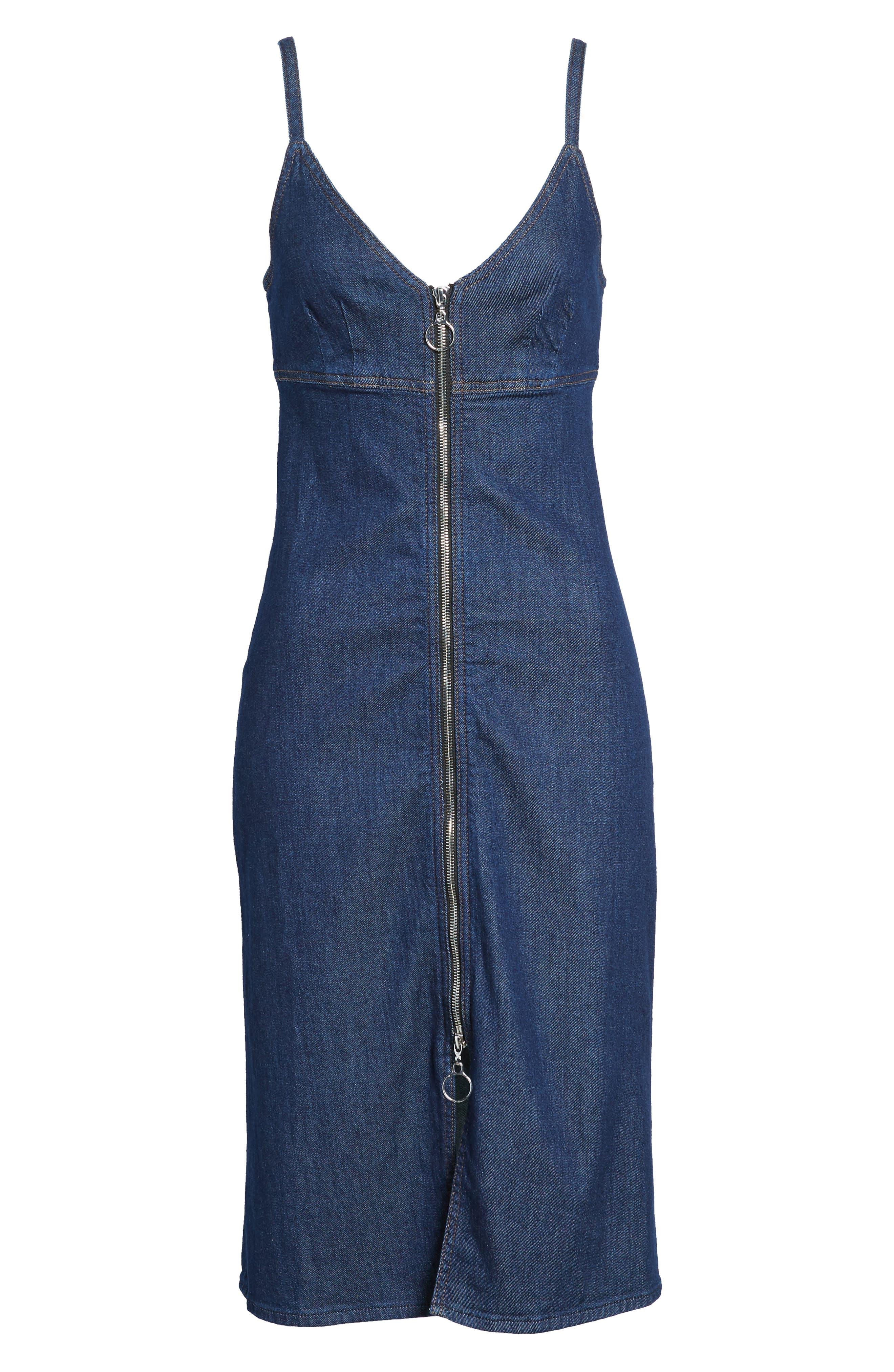 Denim Midi Dress,                             Alternate thumbnail 6, color,                             400