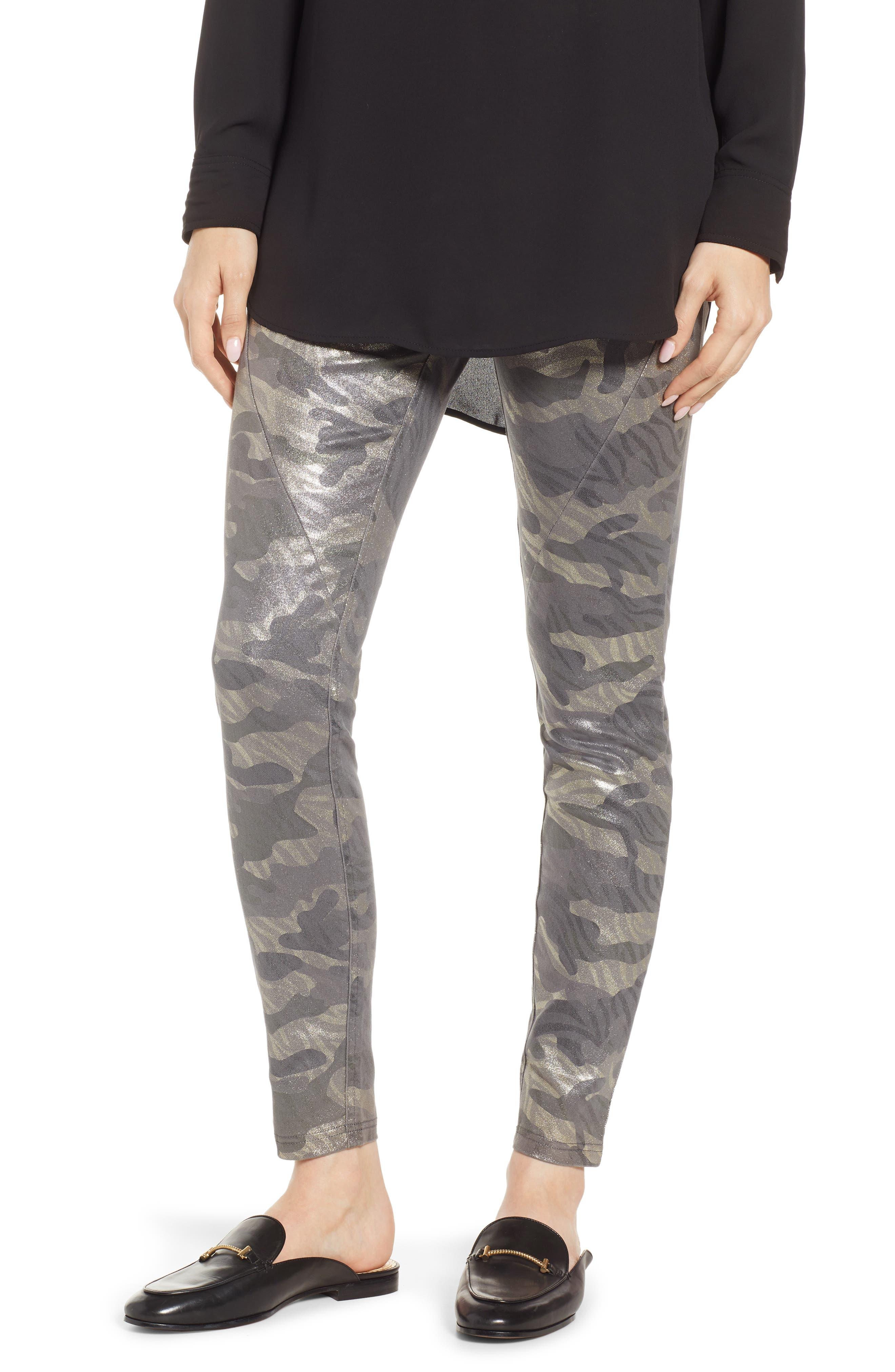 Hue Camo Print Metallic Leggings, Grey