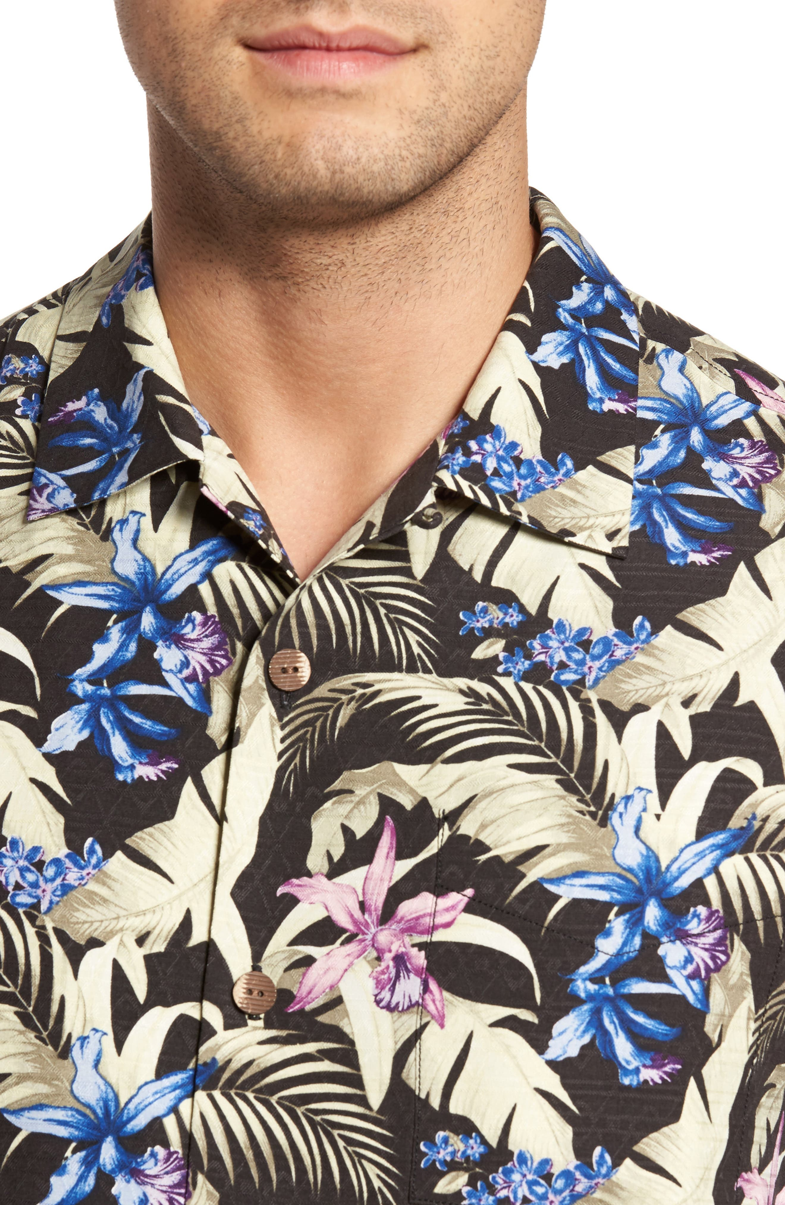 Menara Garden Standard Fit Silk Camp Shirt,                             Alternate thumbnail 4, color,                             001