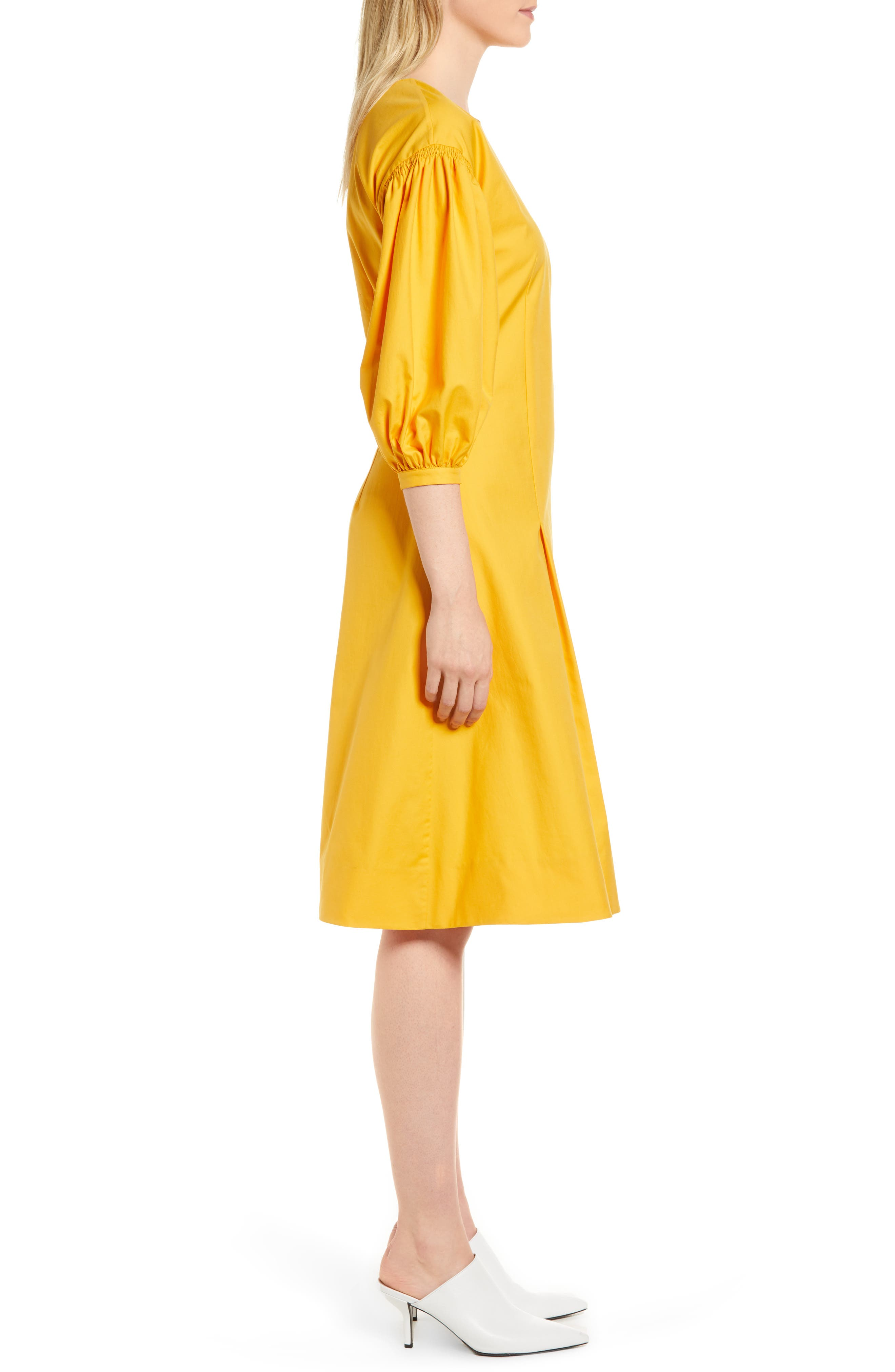 Blouson Sleeve A-Line Twill Dress,                             Alternate thumbnail 6, color,