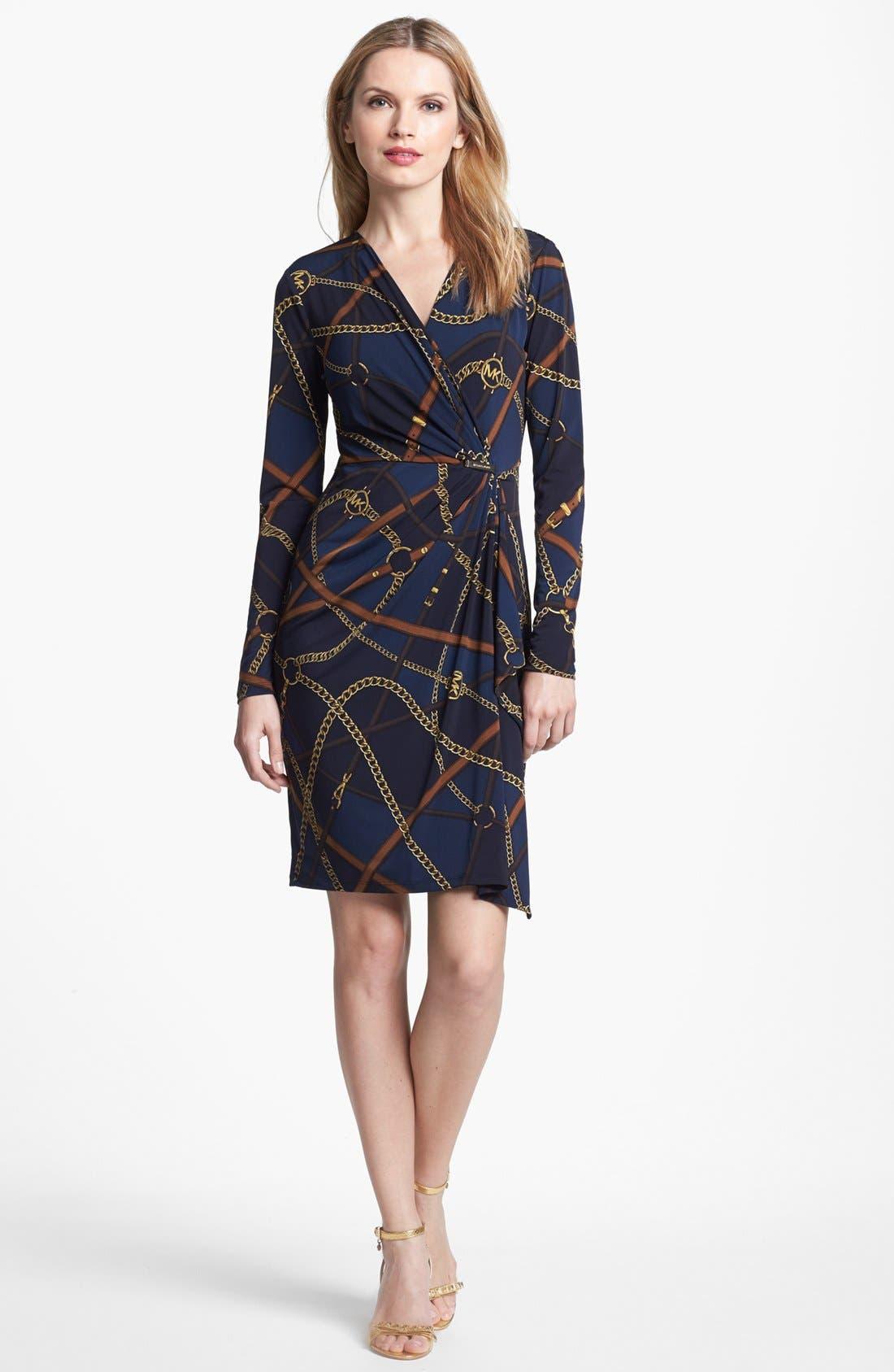 Print Faux Wrap Dress,                         Main,                         color, 452
