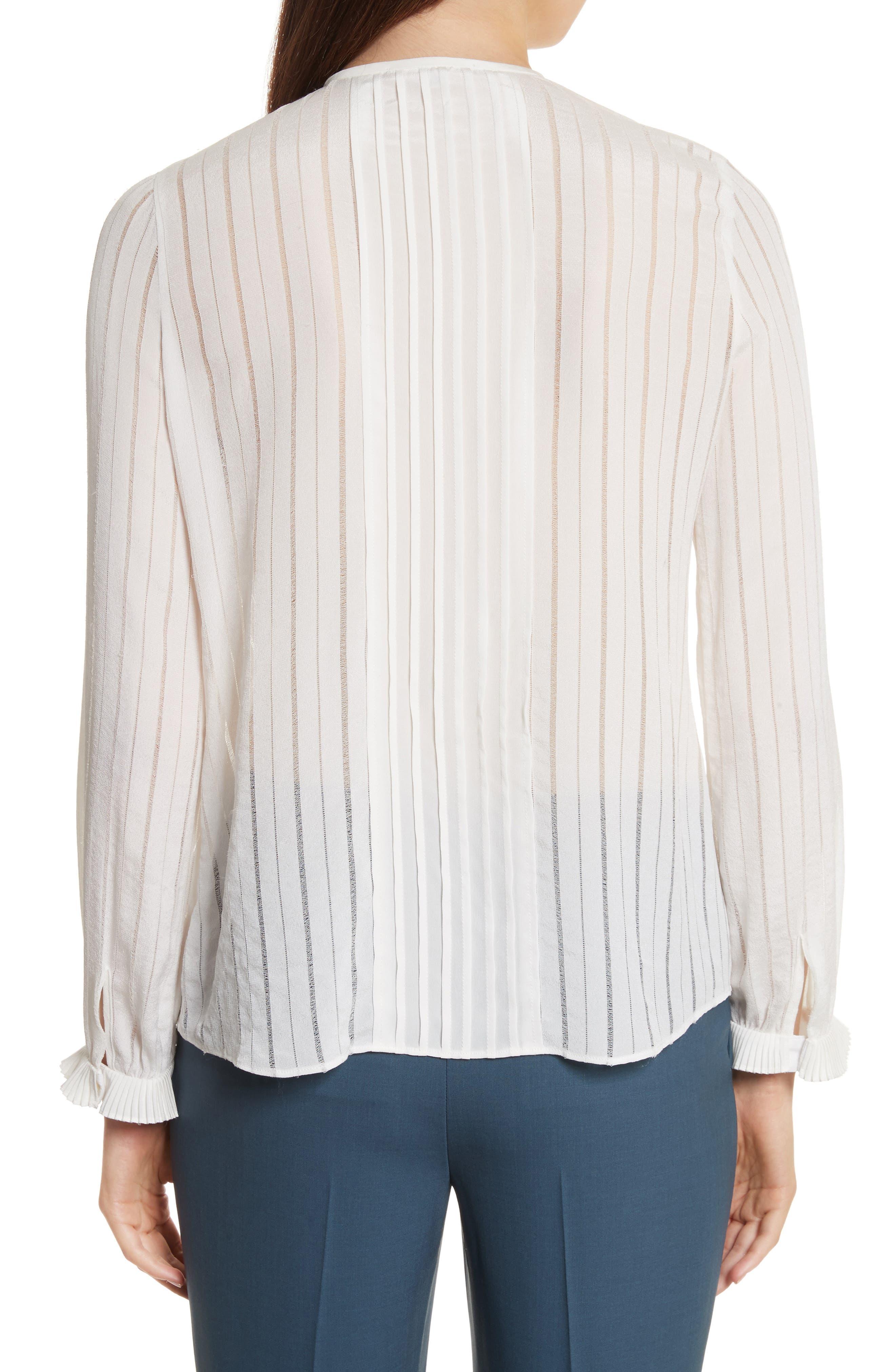Silk & Lace Long Sleeve Blouse,                             Alternate thumbnail 2, color,                             178