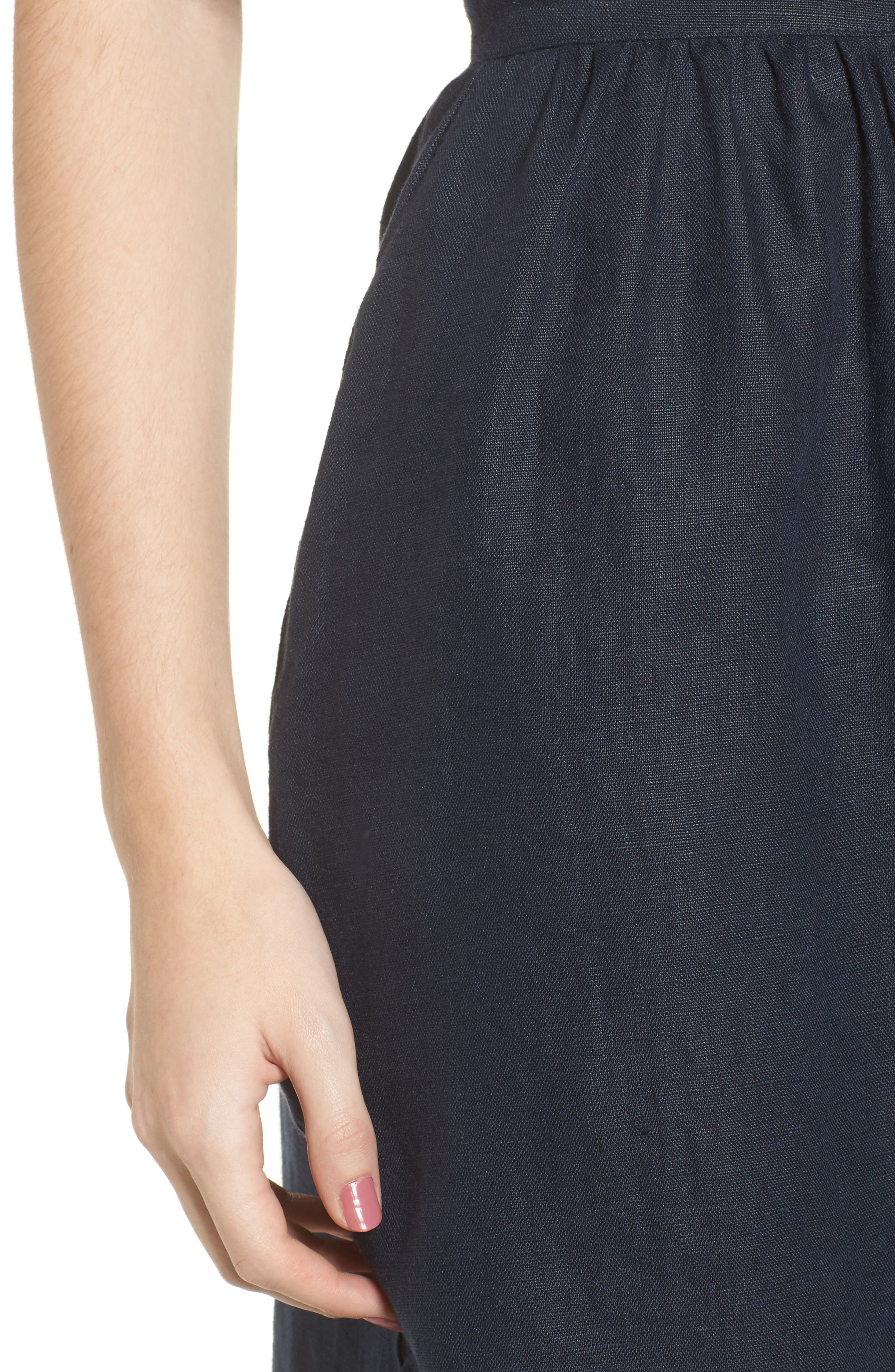 Seine Linen Midi Skirt,                             Alternate thumbnail 4, color,                             400