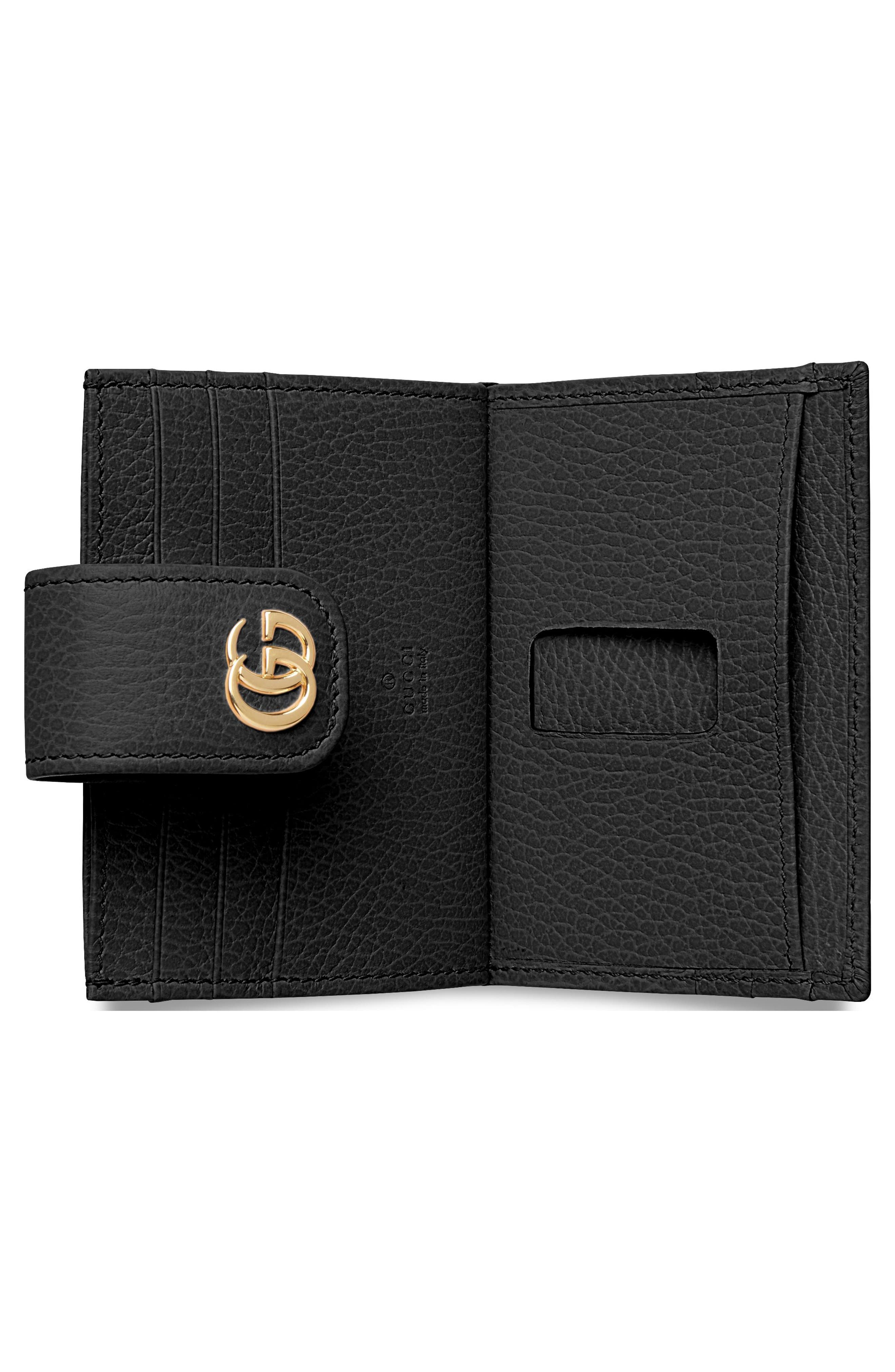 GG Marmont Leather Card Case,                             Alternate thumbnail 2, color,                             NERO