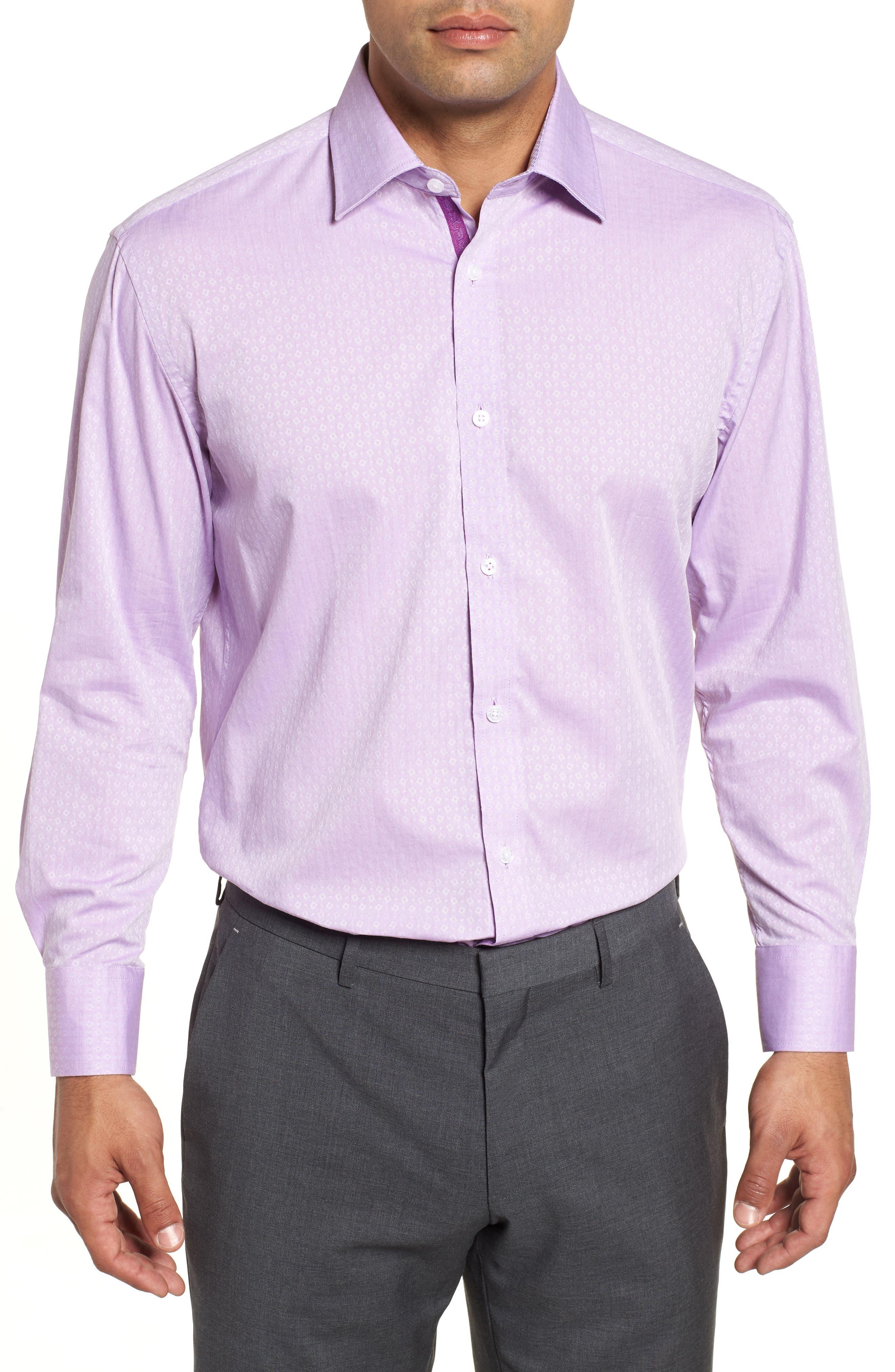 Regular Fit Geometric Dress Shirt,                         Main,                         color, PURPLE