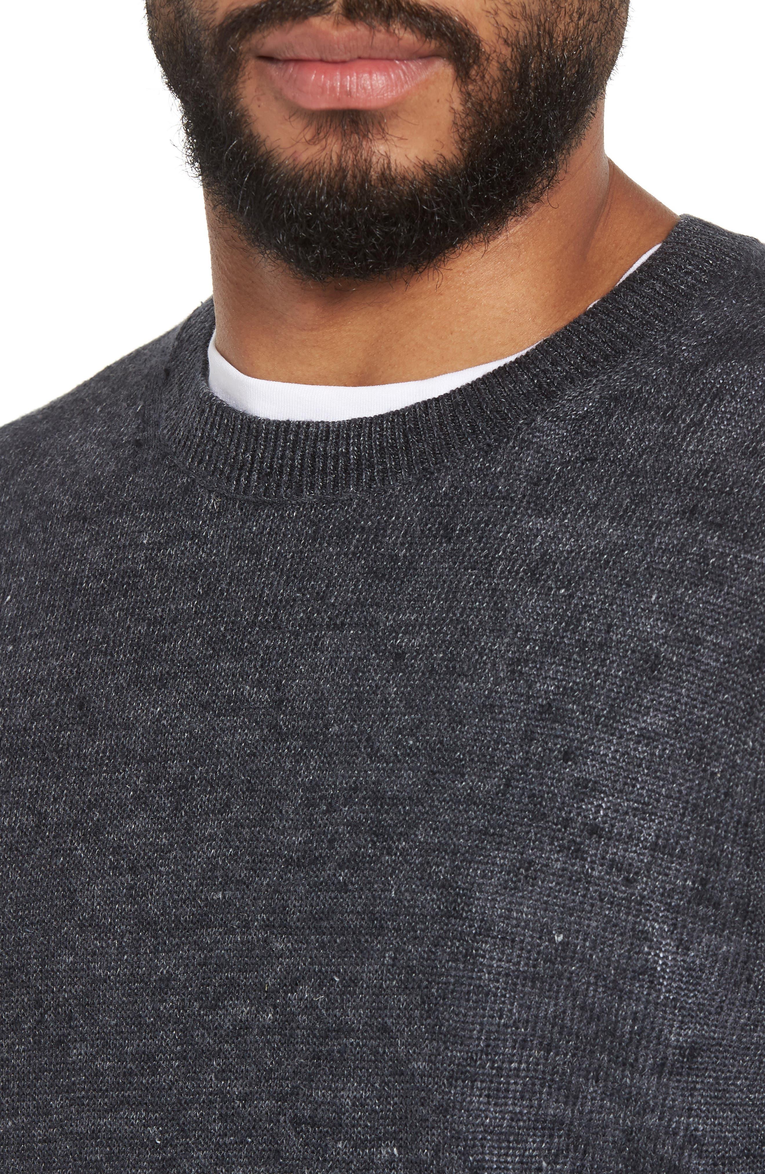 Slim Fit Linen Crewneck Sweater,                             Alternate thumbnail 4, color,                             001