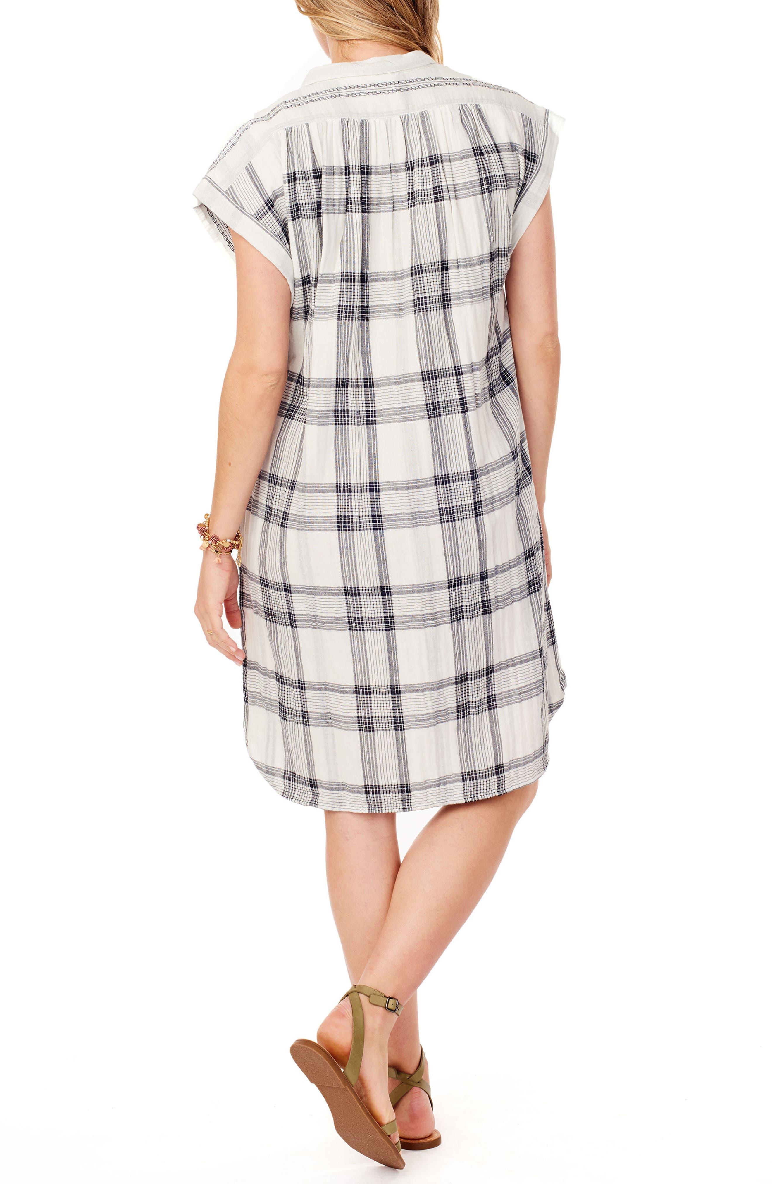 Ingrid & Isabel Maternity Shift Dress,                             Alternate thumbnail 2, color,                             WHITE/ BLACK LUREX PLAID