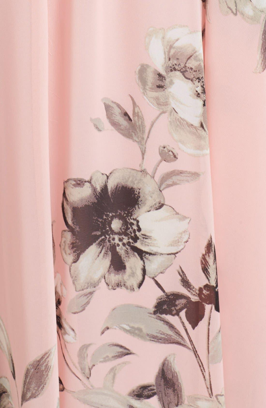 Belted Chiffon Maxi Dress,                             Alternate thumbnail 12, color,                             PINK MULTI
