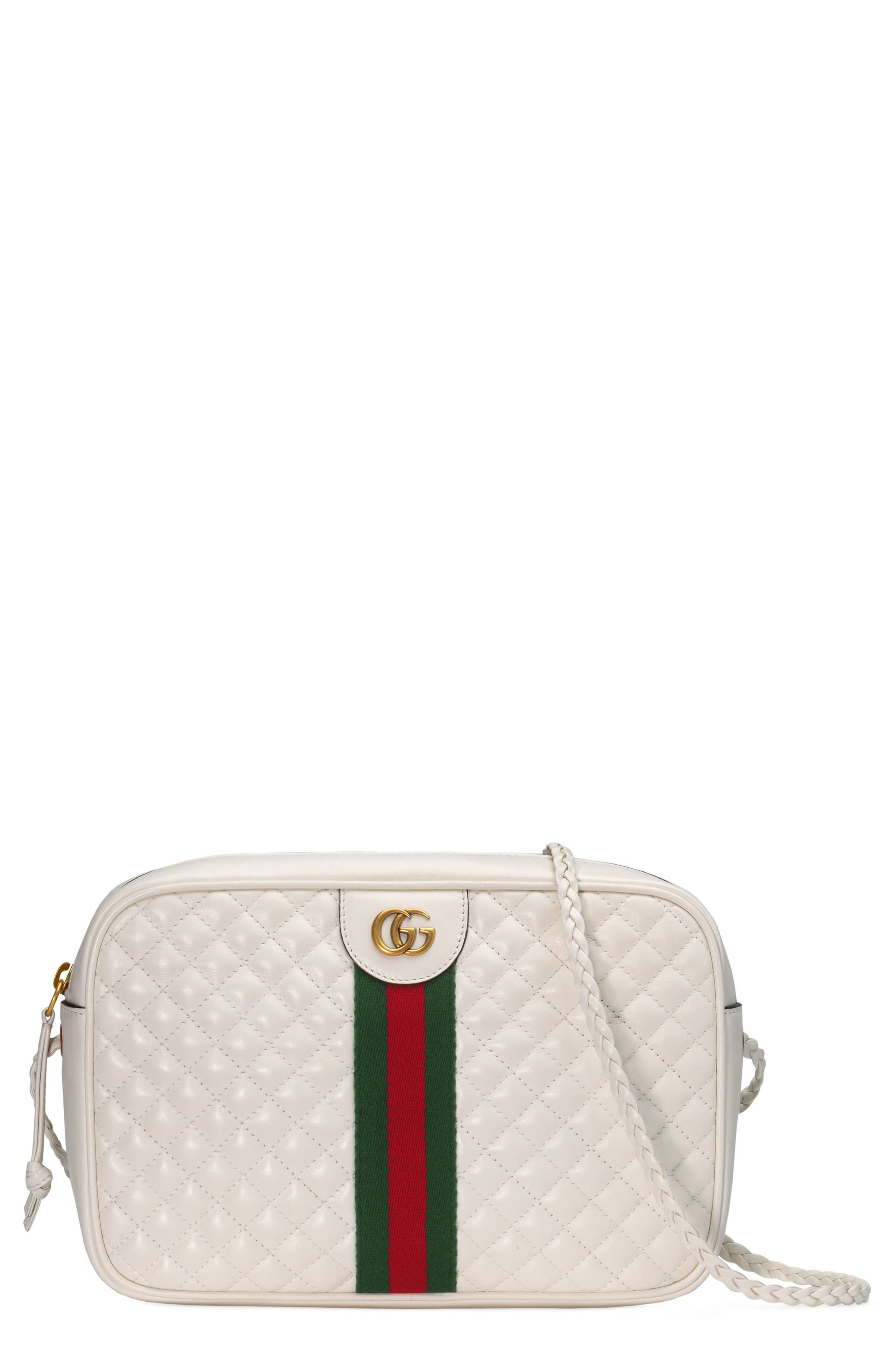 Small Quilted Leather Camera Bag,                         Main,                         color, OFF WHITE/ VERT/ RED
