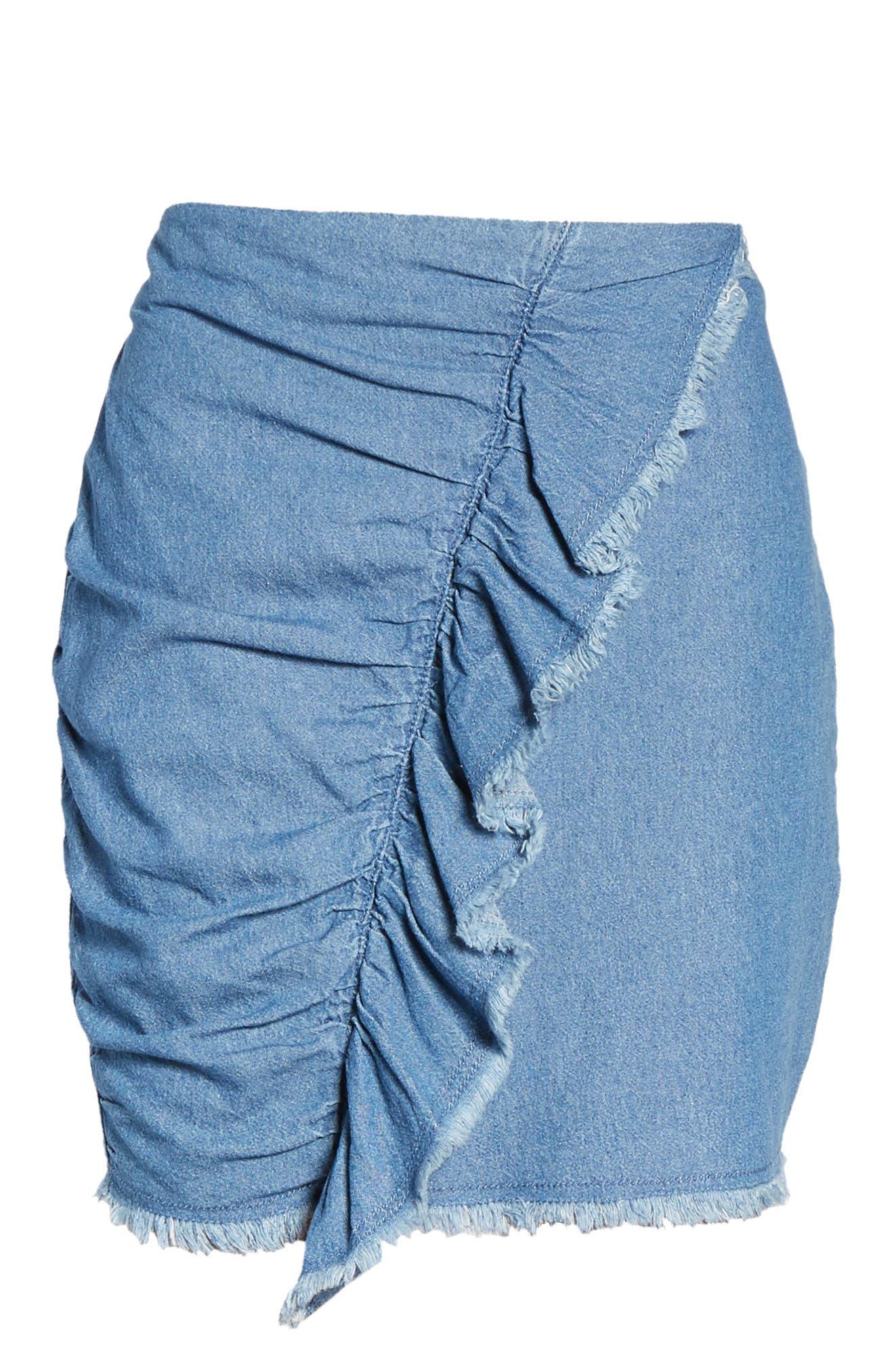 Ruffle Denim Miniskirt,                             Alternate thumbnail 6, color,                             459