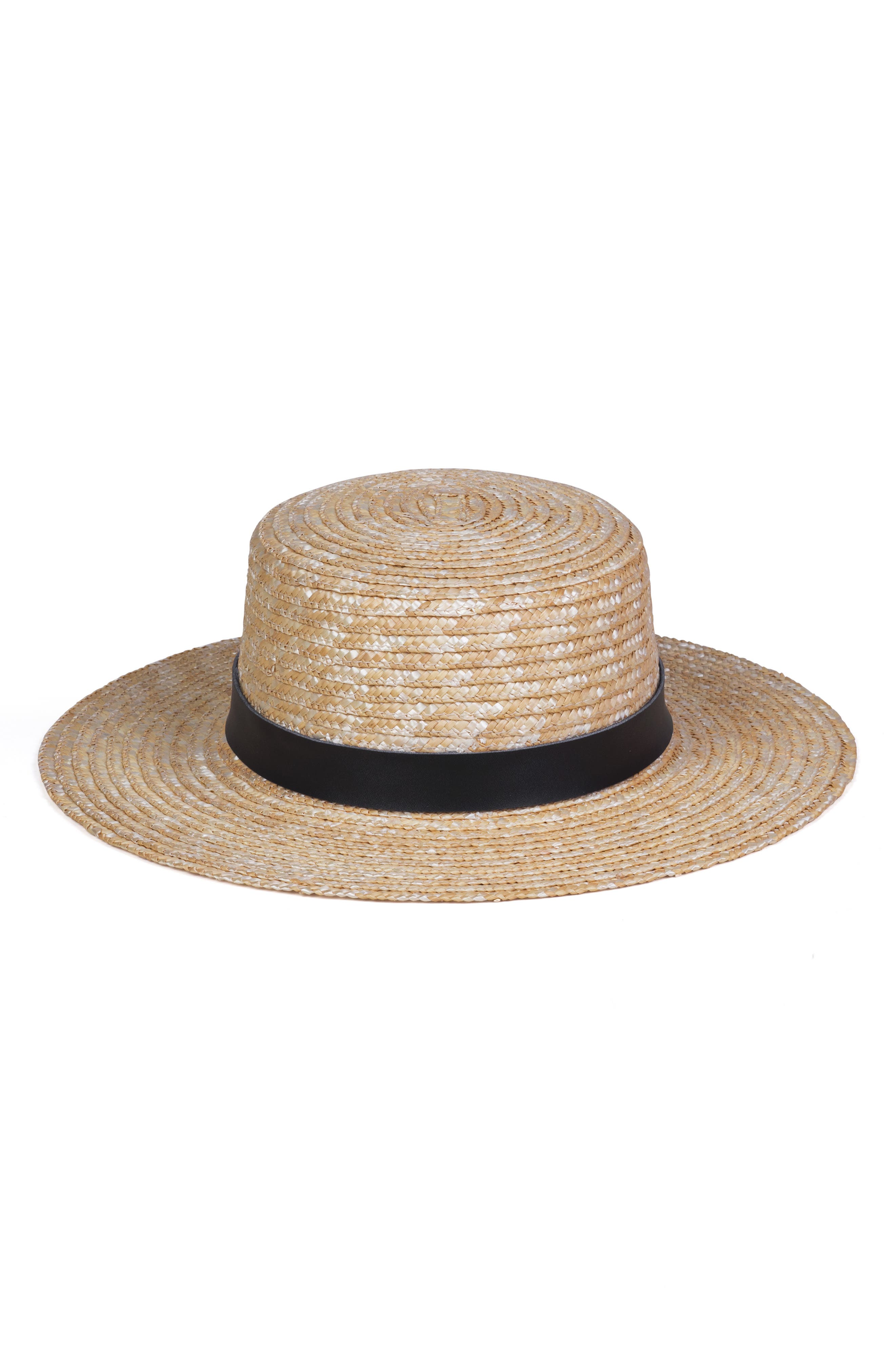 LACK OF COLOR Spencer Leather Band Straw Hat - Brown in Black