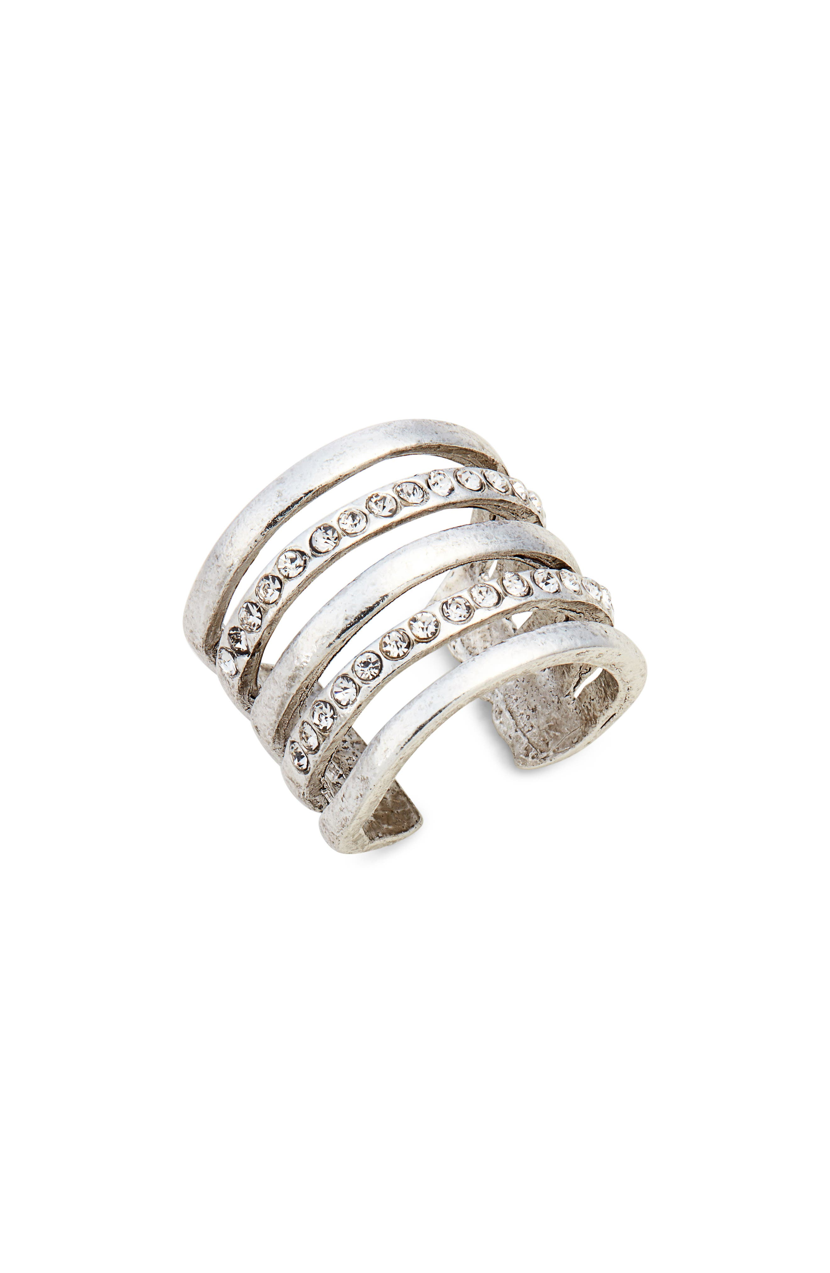 Claire Cage Ring,                         Main,                         color, SILVER