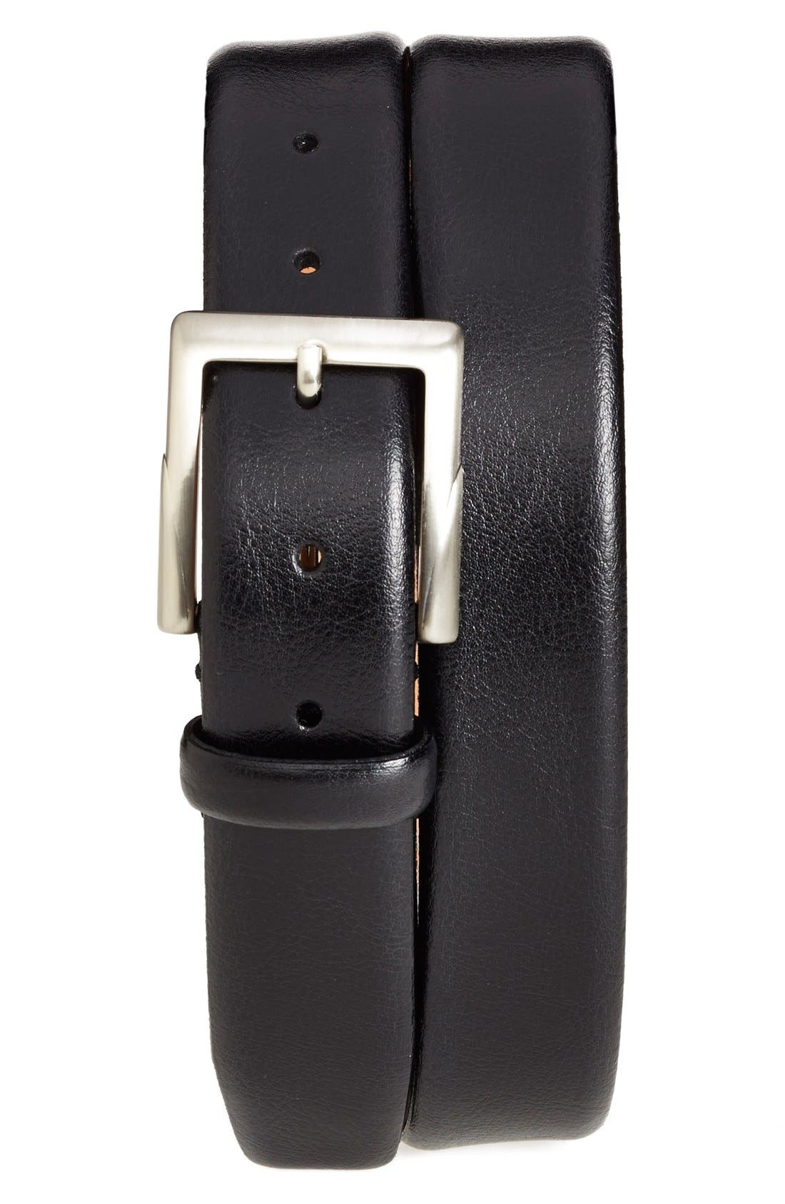 'Rafferty' Leather Belt,                         Main,                         color, BLACK