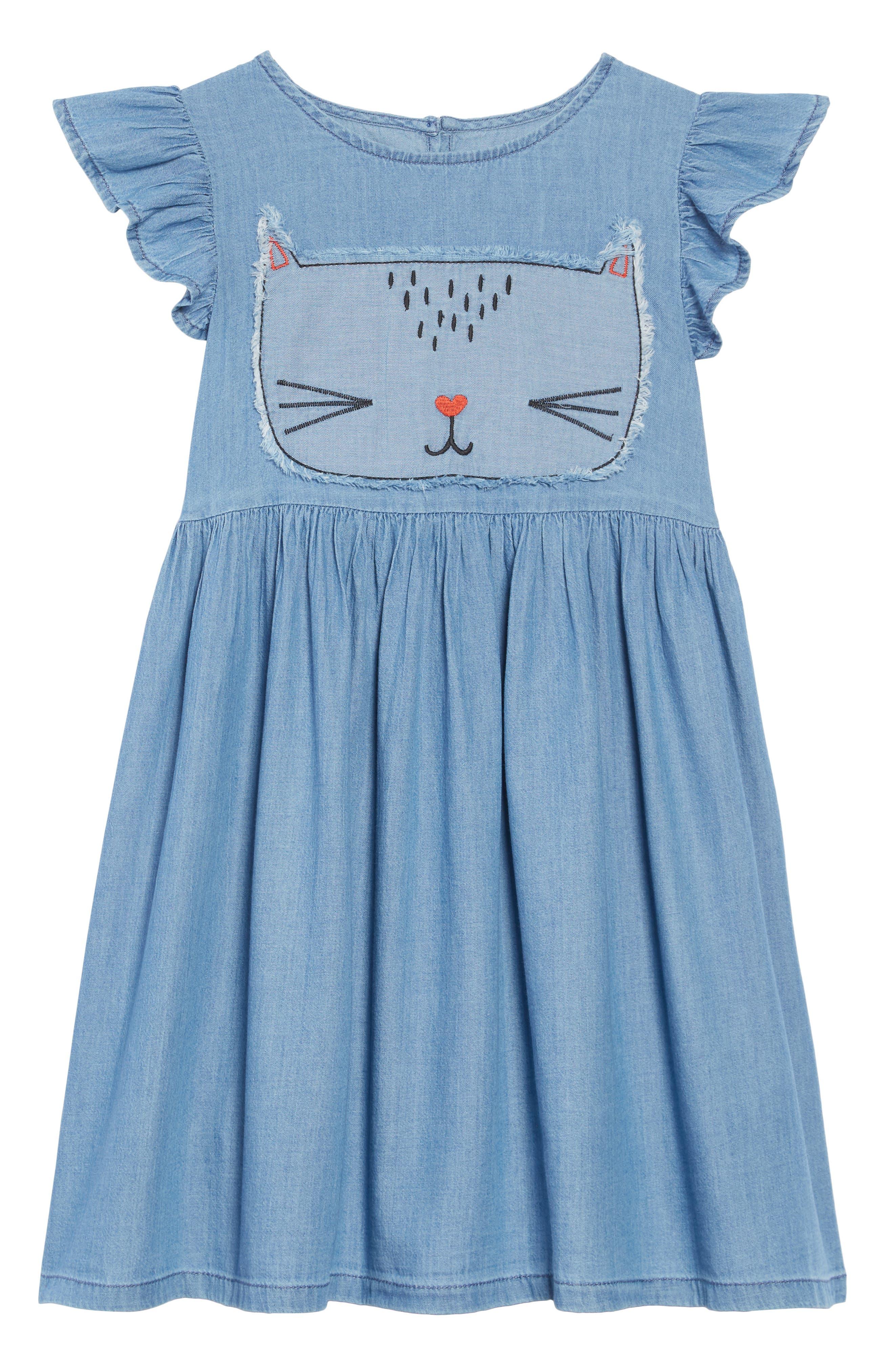 Embroidered Chambray Dress,                             Main thumbnail 1, color,                             450