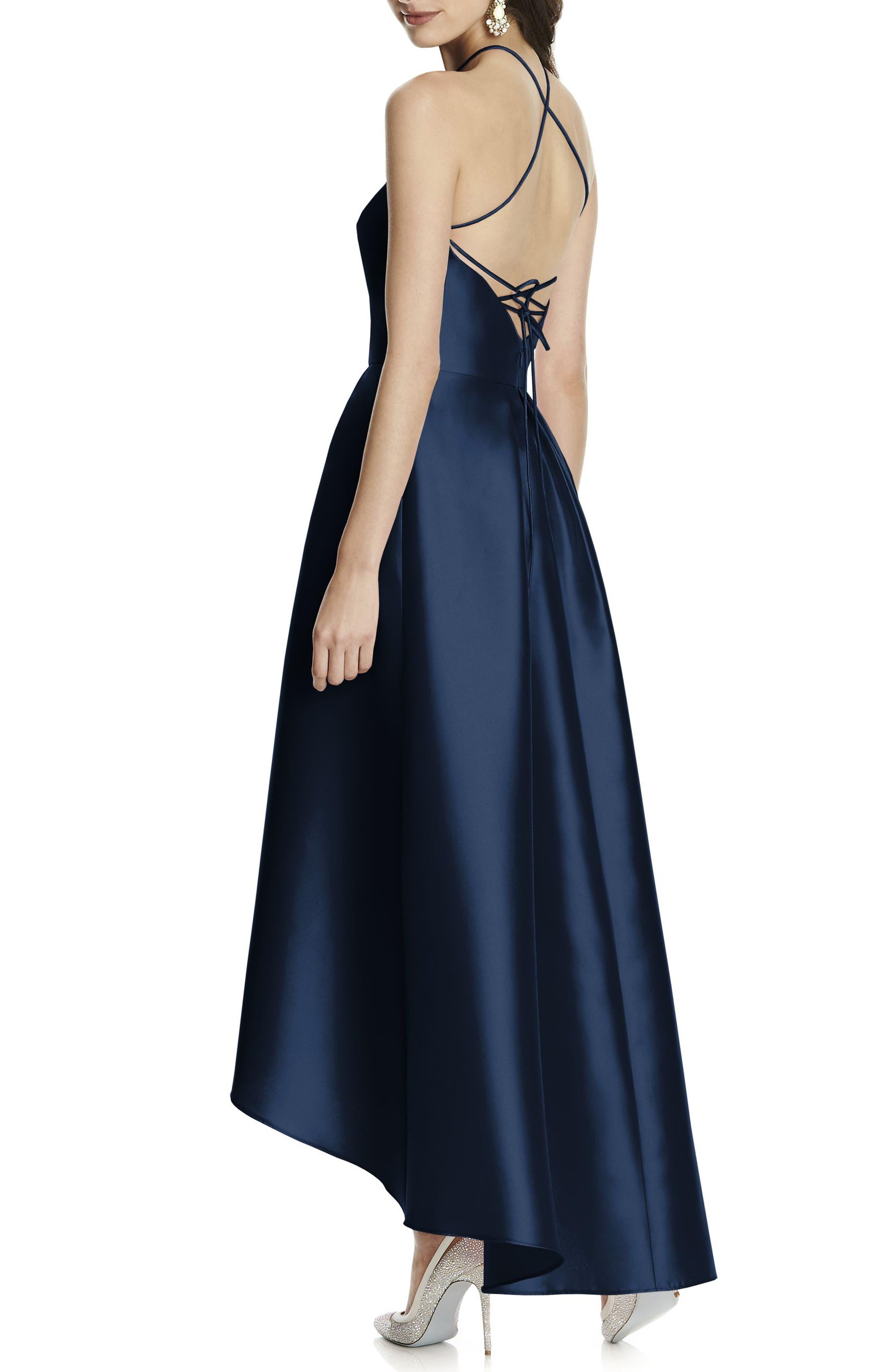 High/Low Hem Sateen Halter Dress,                             Alternate thumbnail 2, color,                             405