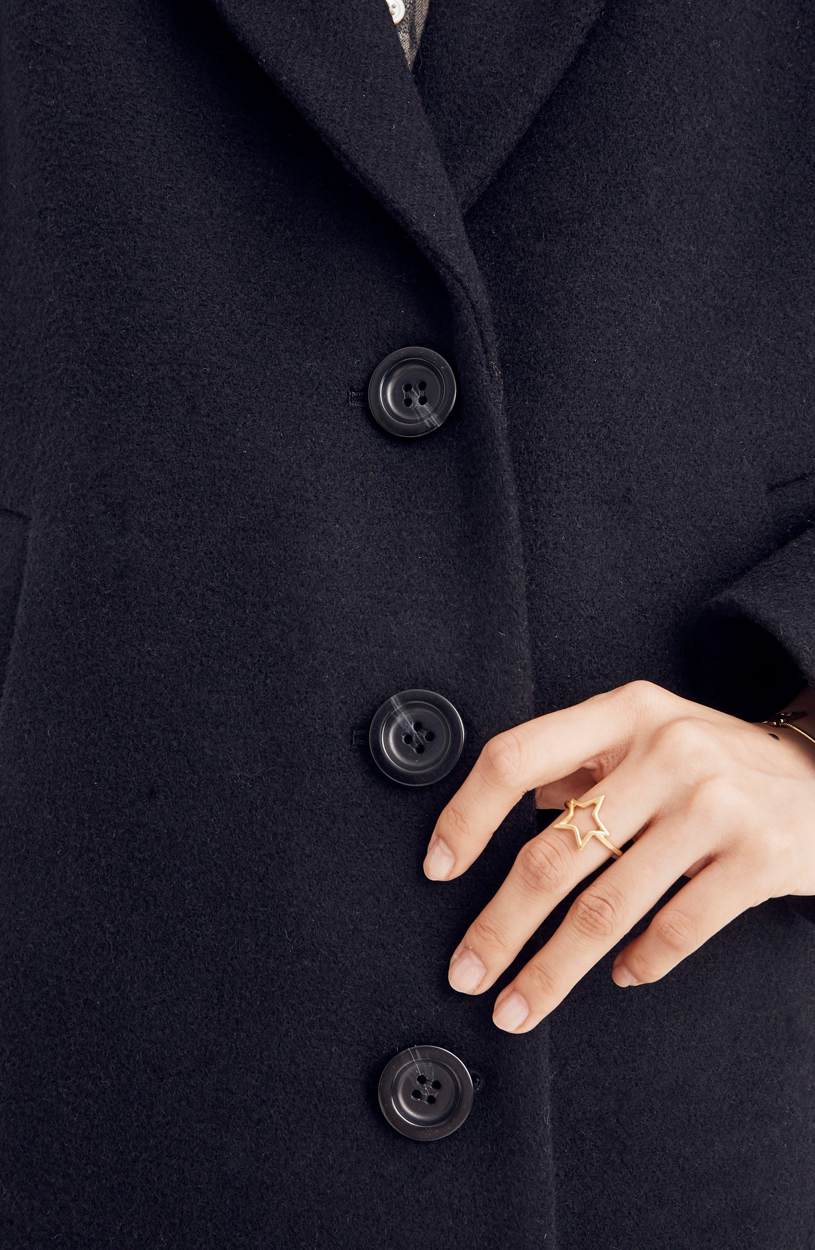 Bergen Cocoon Coat,                             Alternate thumbnail 4, color,                             TRUE BLACK