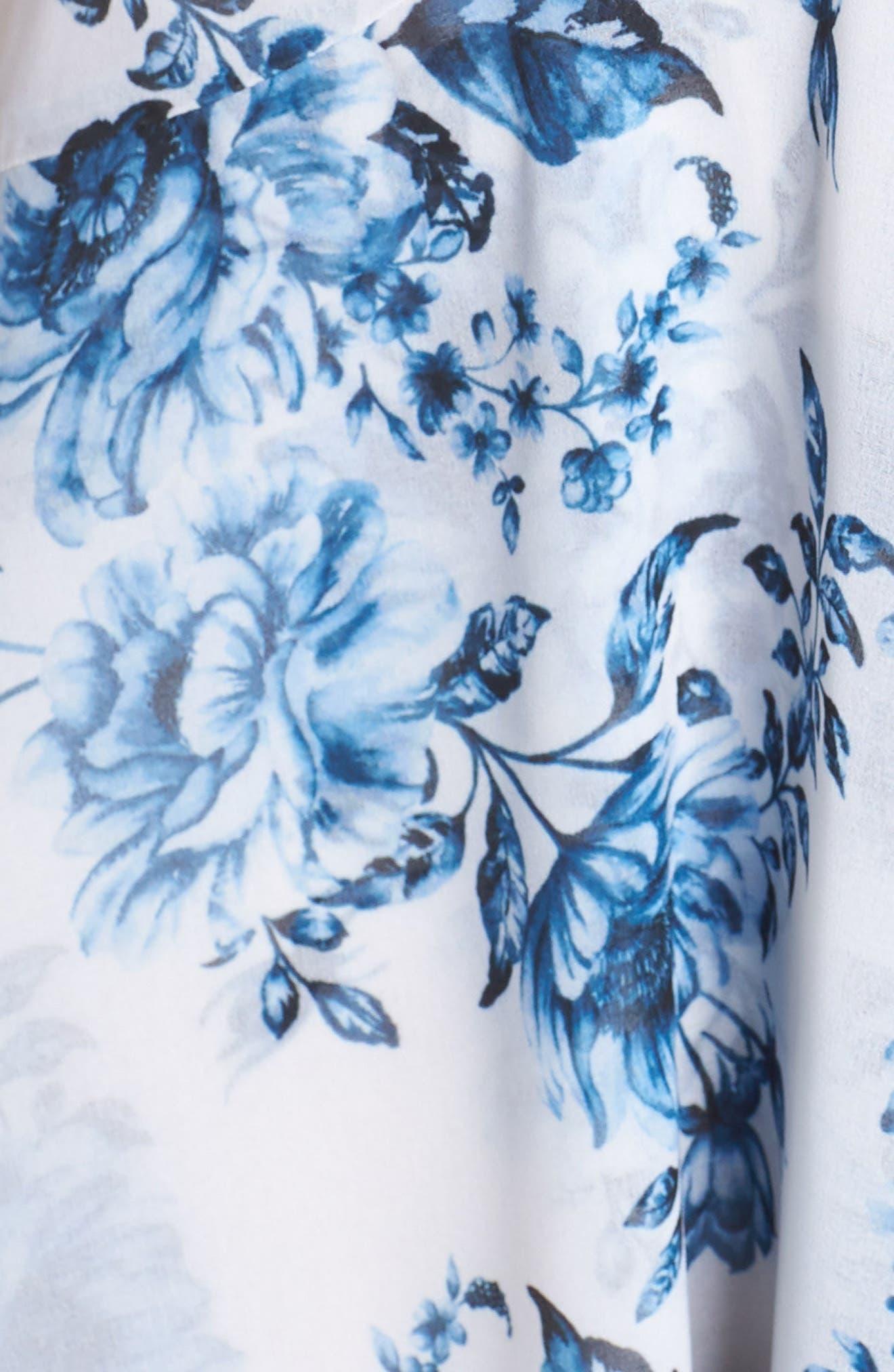 Elanor Ruffle Faux Wrap Maxi Dress,                             Alternate thumbnail 6, color,                             BLUE TOILE FLORAL