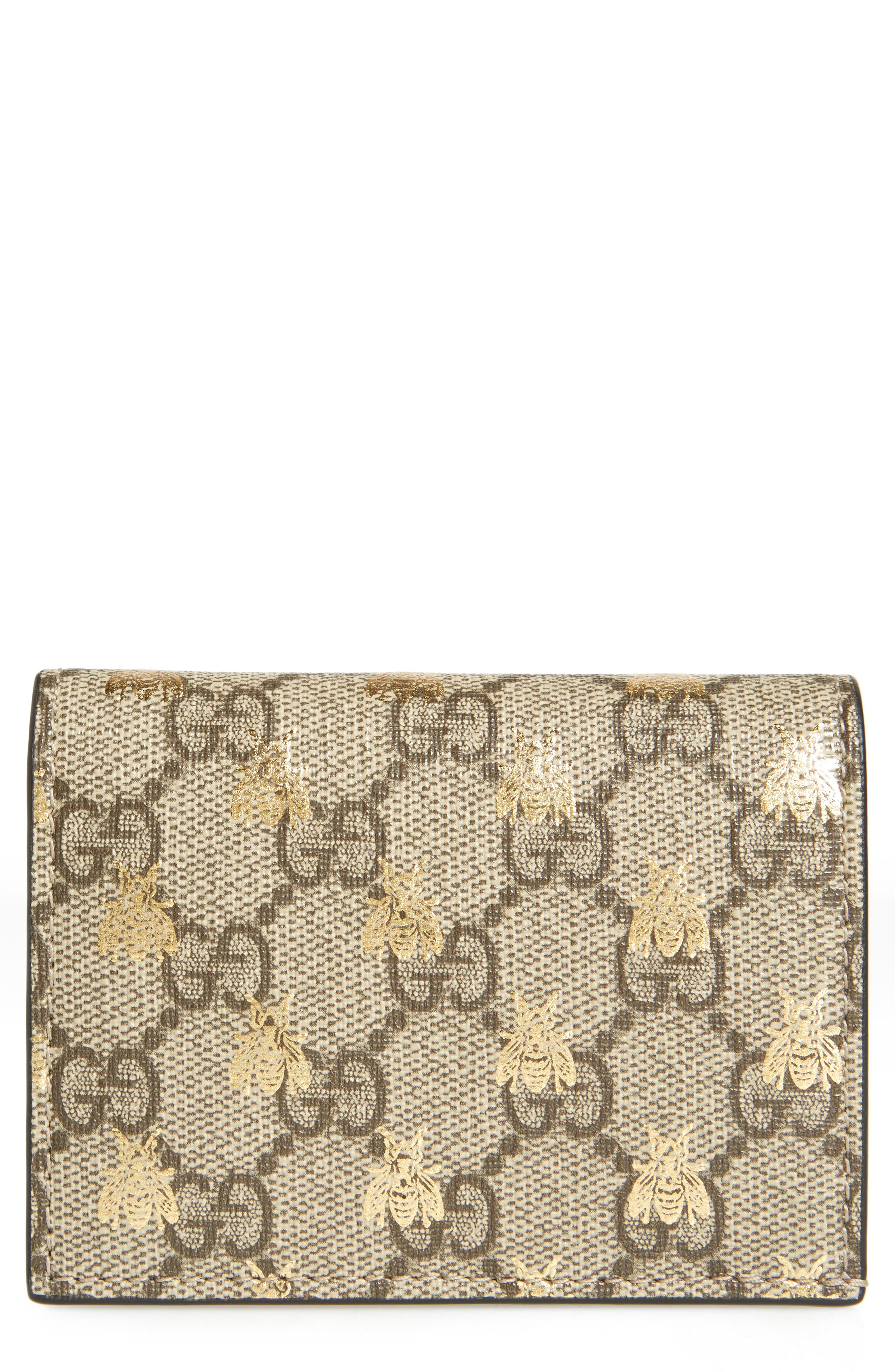 GG Supreme Bee Canvas Bifold Wallet,                         Main,                         color,
