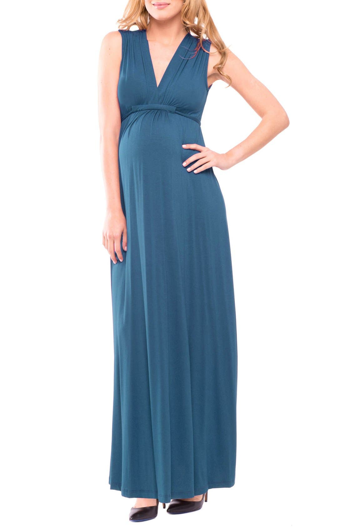 Olian Lucy Maternity Maxi Dress, Blue/green