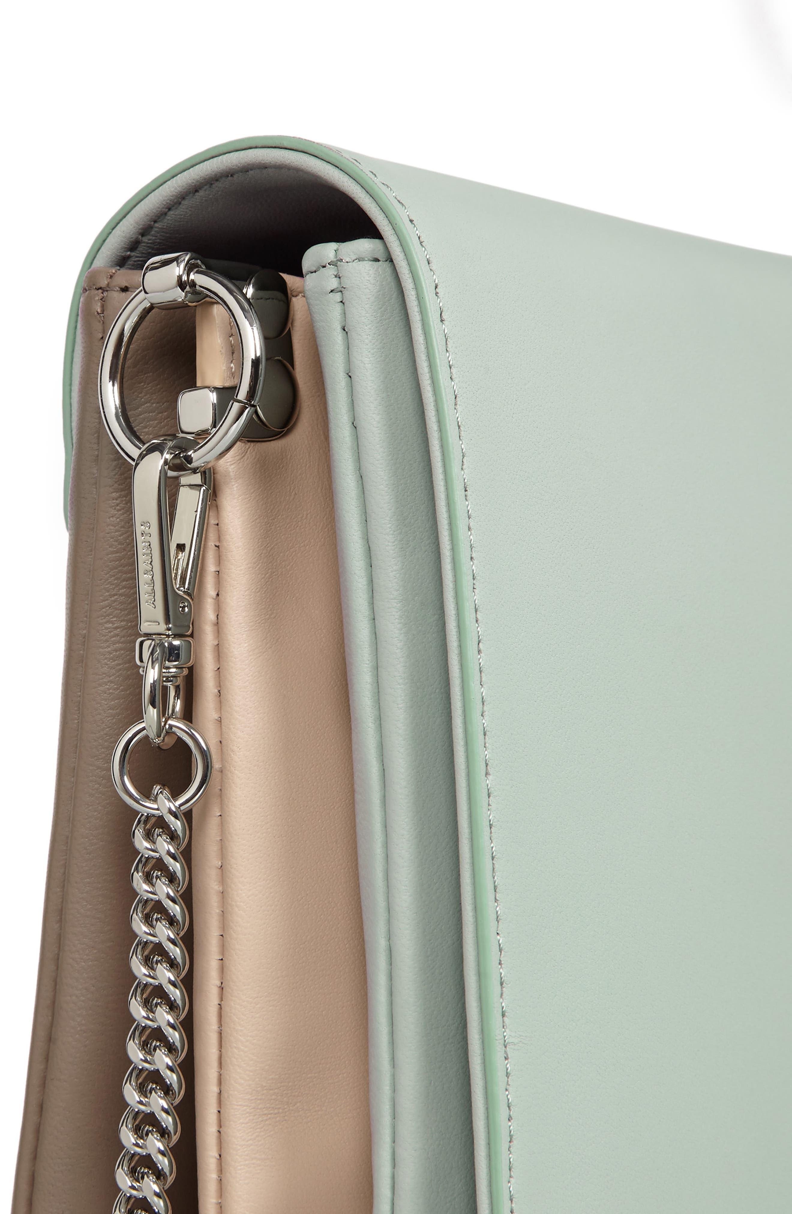Zep Colorblock Leather Shoulder Bag,                             Alternate thumbnail 4, color,                             MINT GREEN