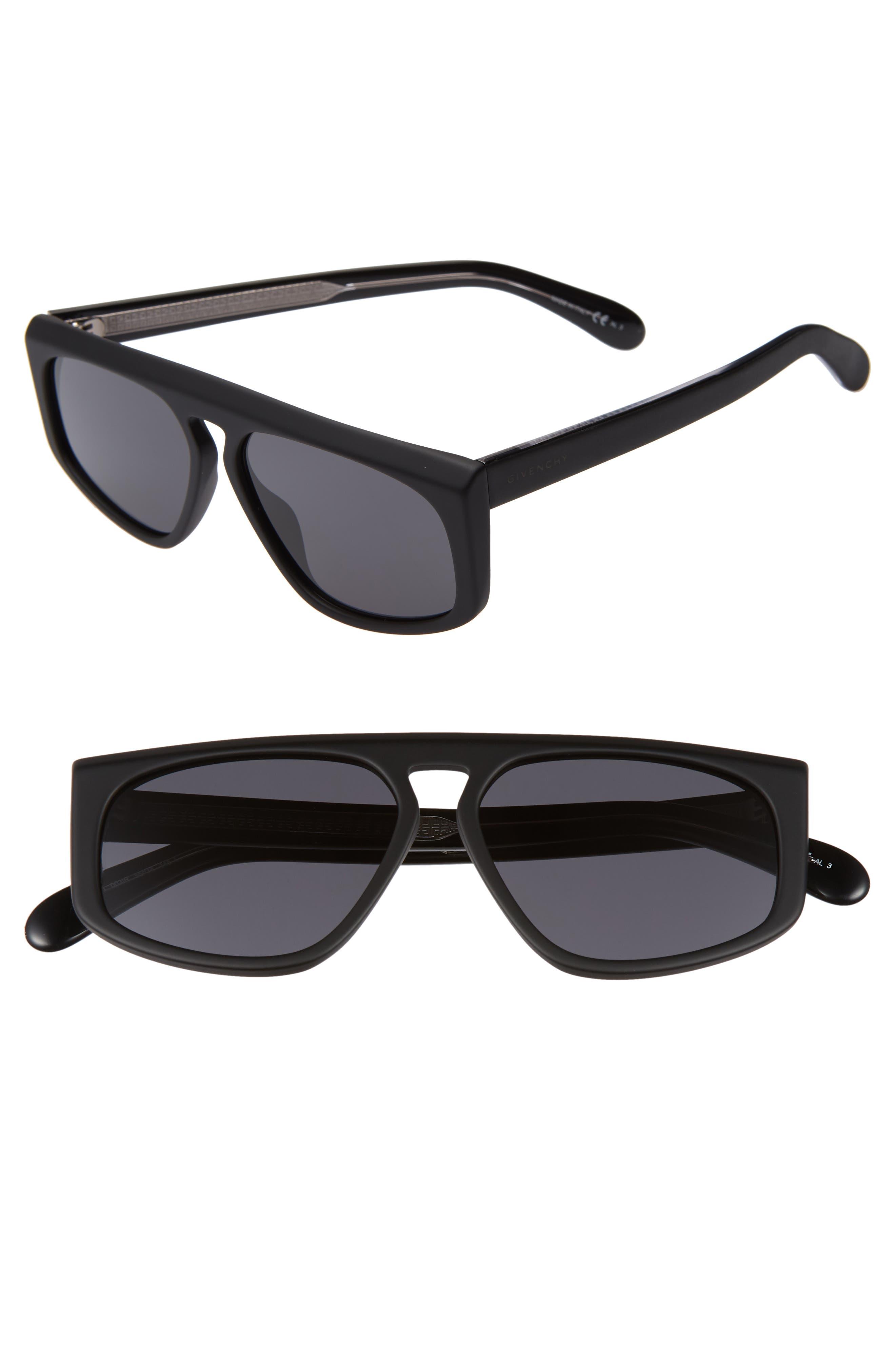55mm Flat Top Sunglasses,                             Main thumbnail 1, color,                             MATTE BLACK