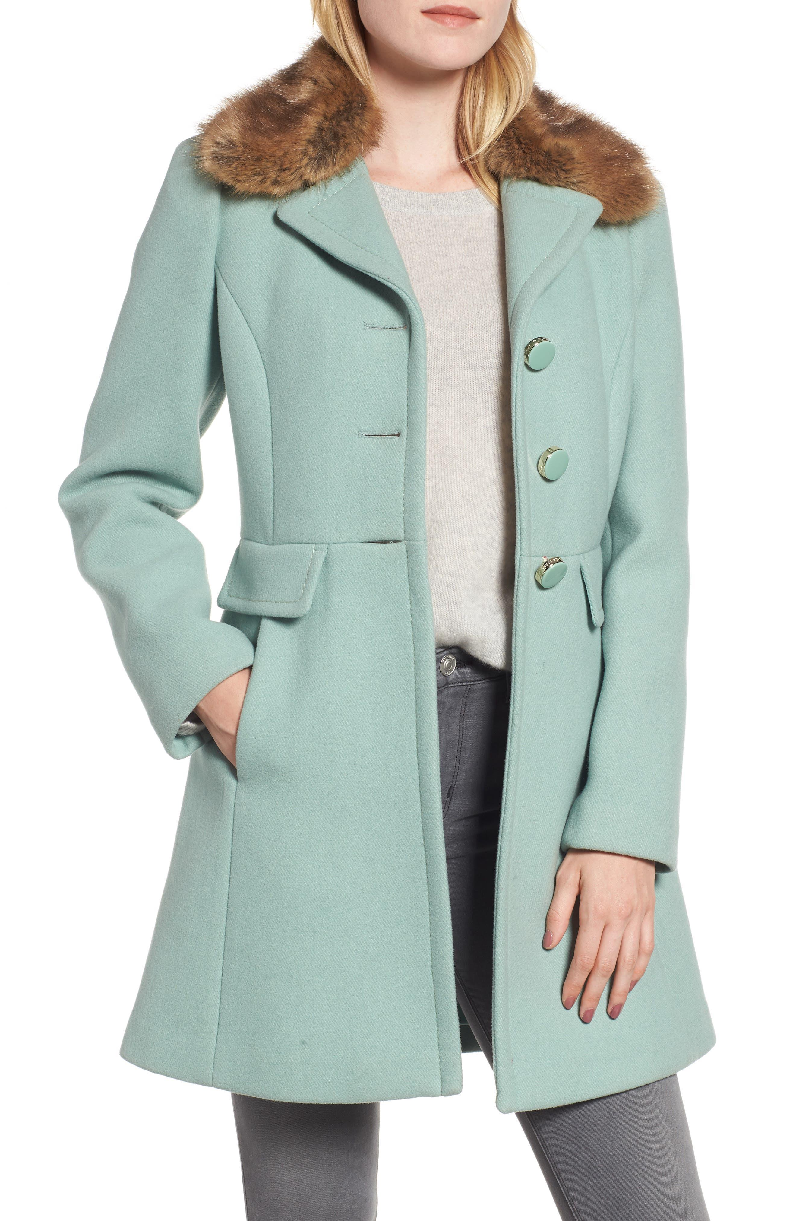 faux fur collar wool blend coat,                             Main thumbnail 1, color,                             300