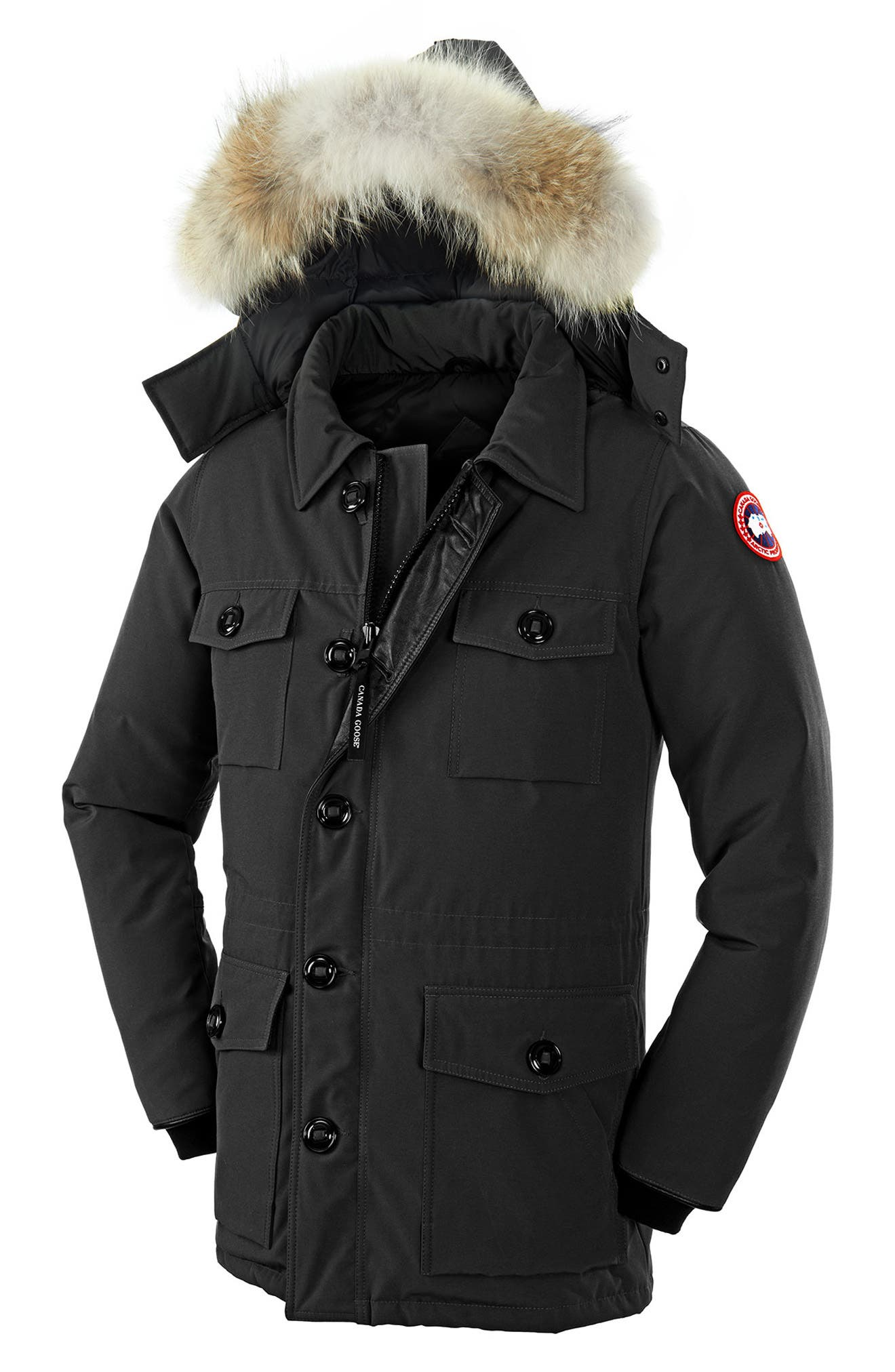 CANADA GOOSE,                             'Banff' Parka with Genuine Coyote Fur Trim,                             Alternate thumbnail 3, color,                             001