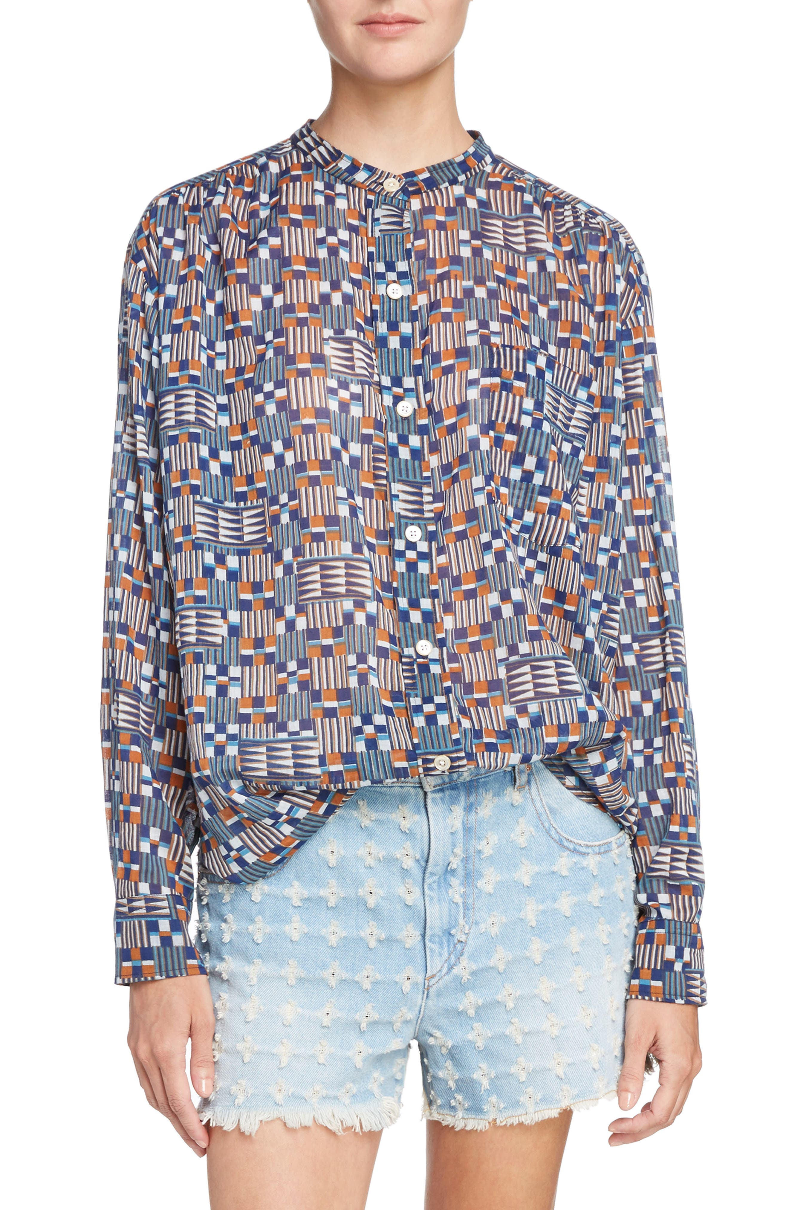 Isabel Marant Étoile Nahla Print Cotton Shirt,                             Main thumbnail 1, color,                             400