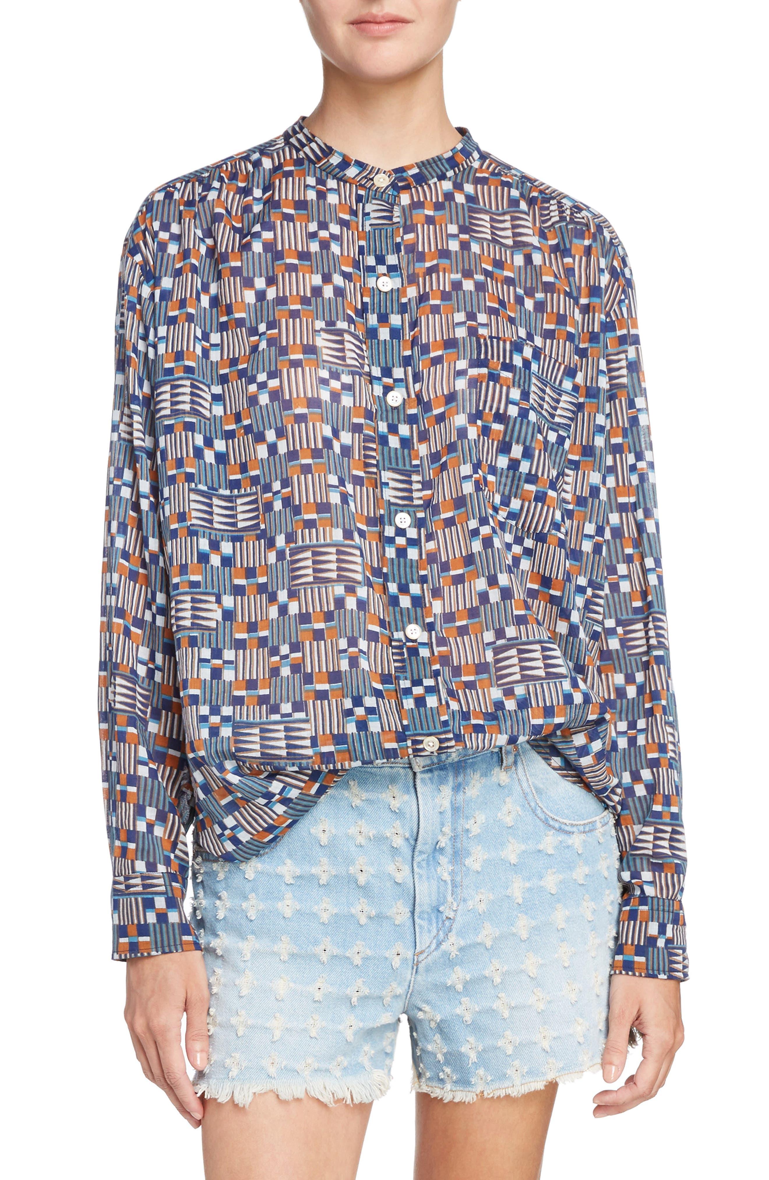 Isabel Marant Étoile Nahla Print Cotton Shirt,                         Main,                         color, 400