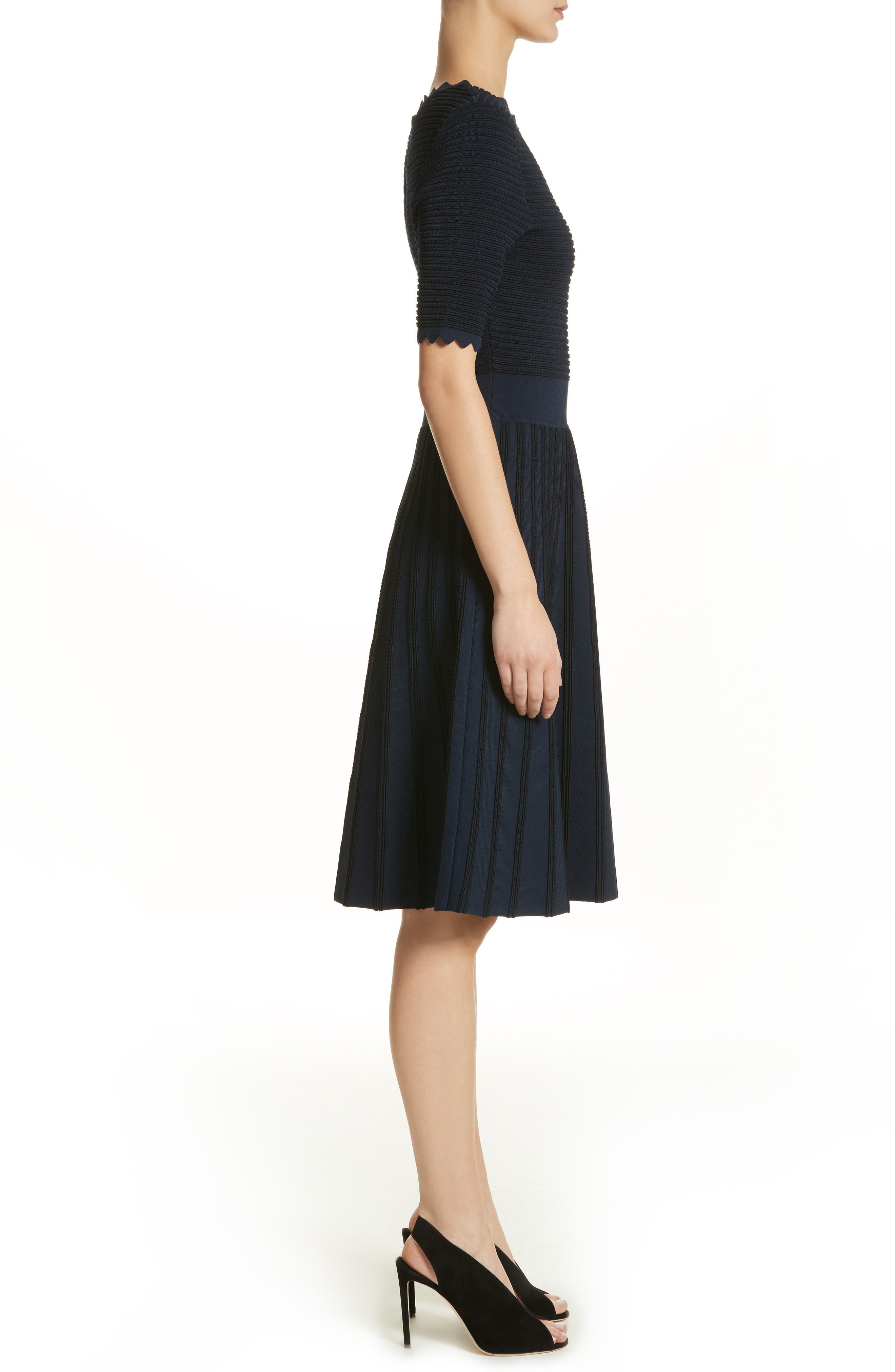 Scallop Trim Stripe Dress,                             Alternate thumbnail 3, color,                             410