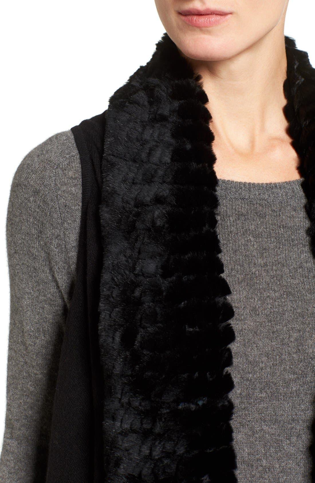 Cashmere Drape Vest with Genuine Rex Rabbit Fur Trim,                             Alternate thumbnail 7, color,