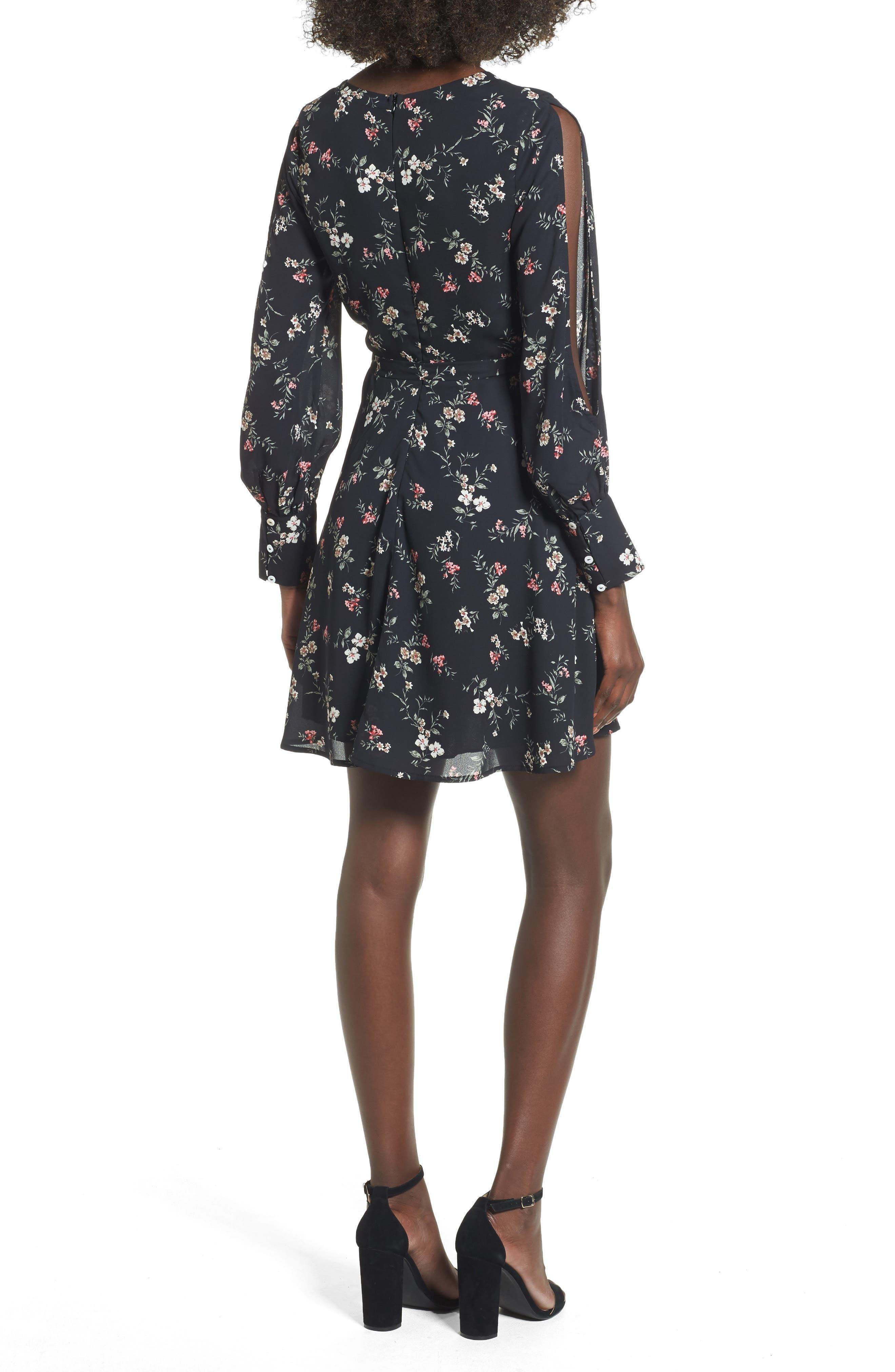 Cold Shoulder Wrap Style Dress,                             Alternate thumbnail 2, color,                             001