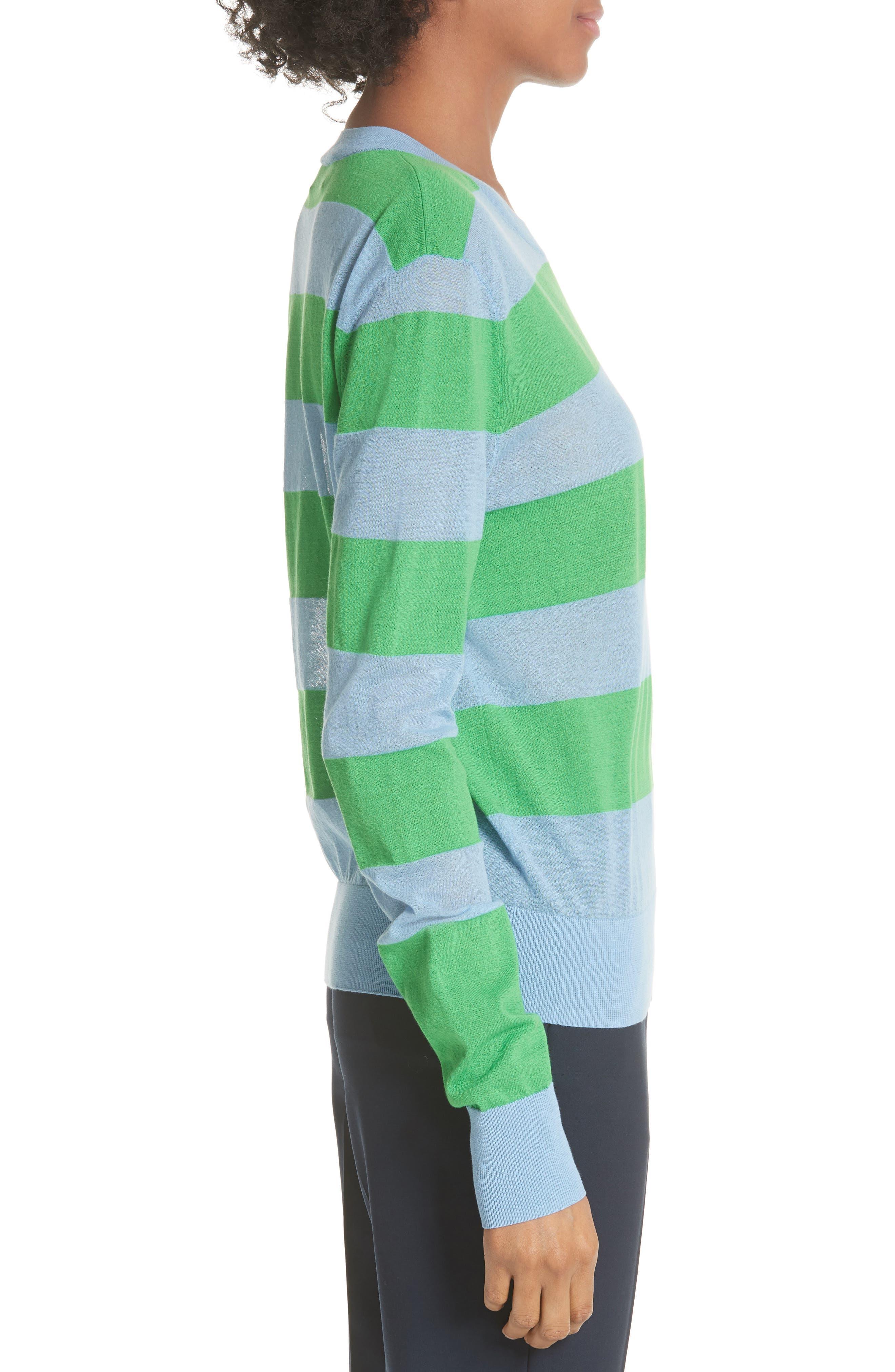 Diane von Furstenberg Colorblock Stripe Sweater,                             Alternate thumbnail 3, color,                             415